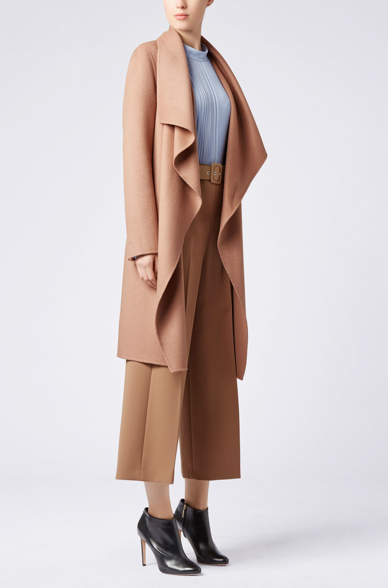 Waterfall coat in a double-faced wool blend, Brown