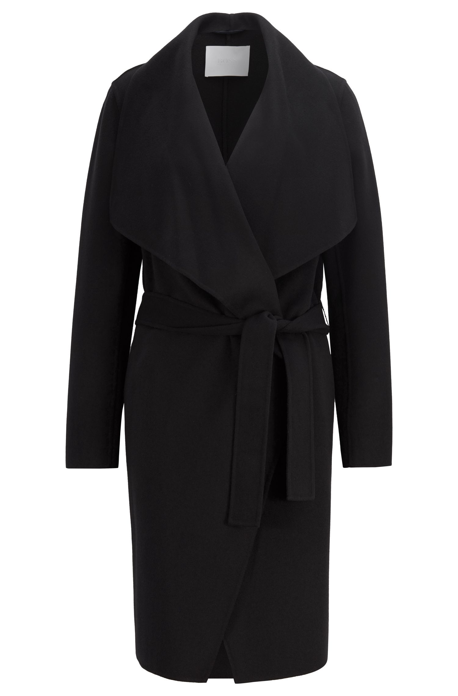 Waterfall coat in a double-faced wool blend