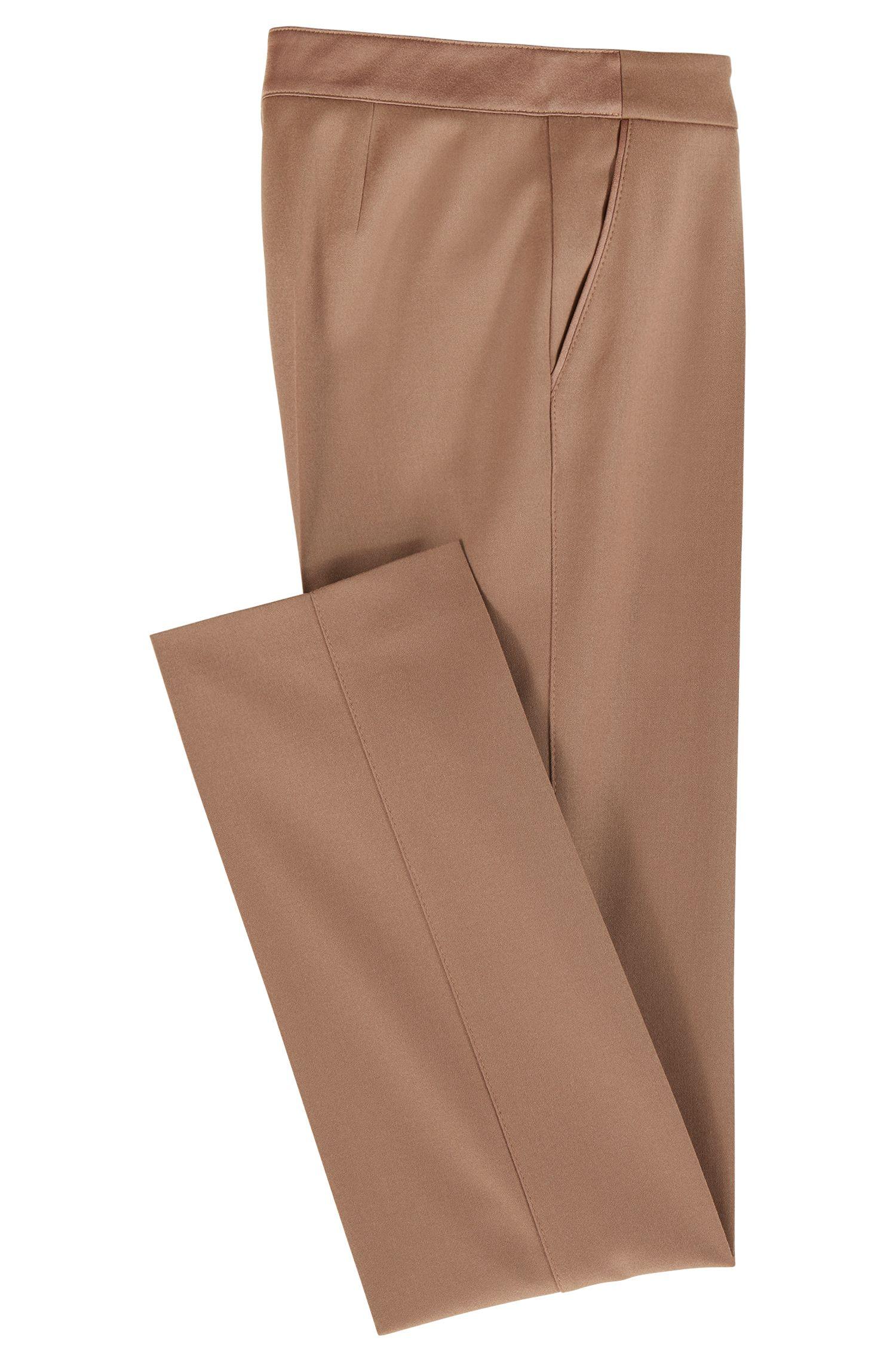 Regular-fit formal pants in stretch wool, Brown