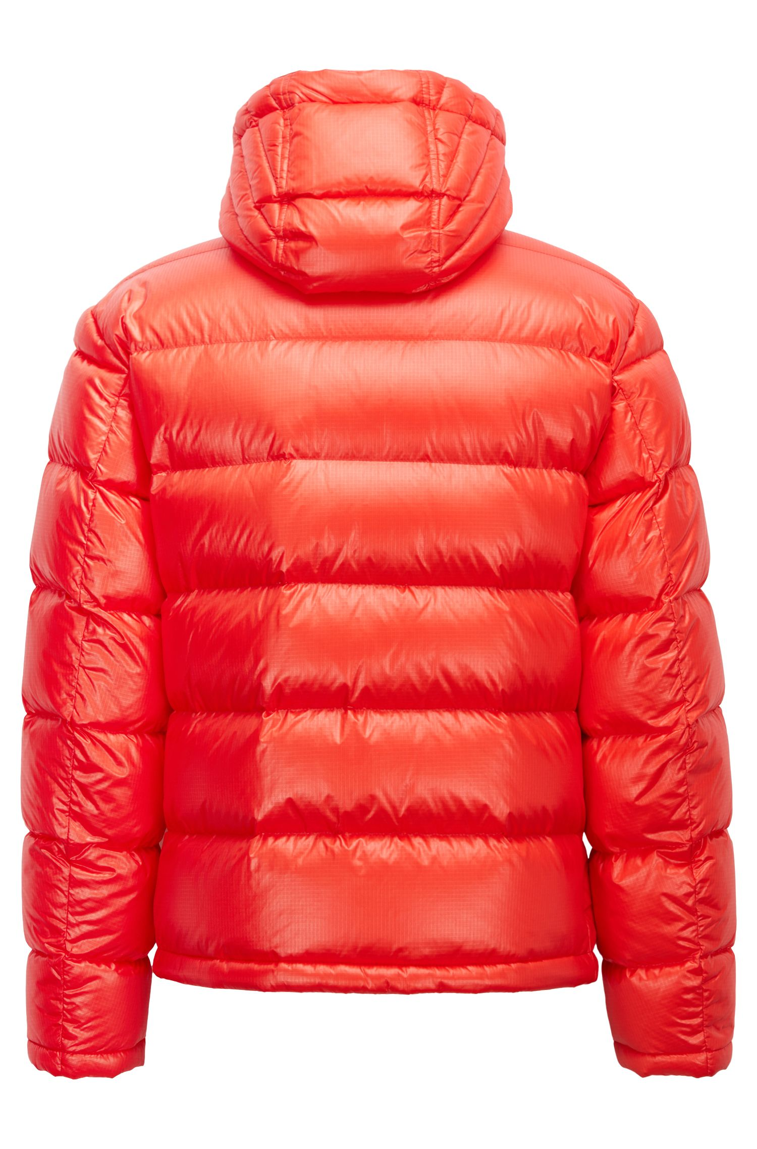 Blouson-style down-filled jacket with detachable hood, Red