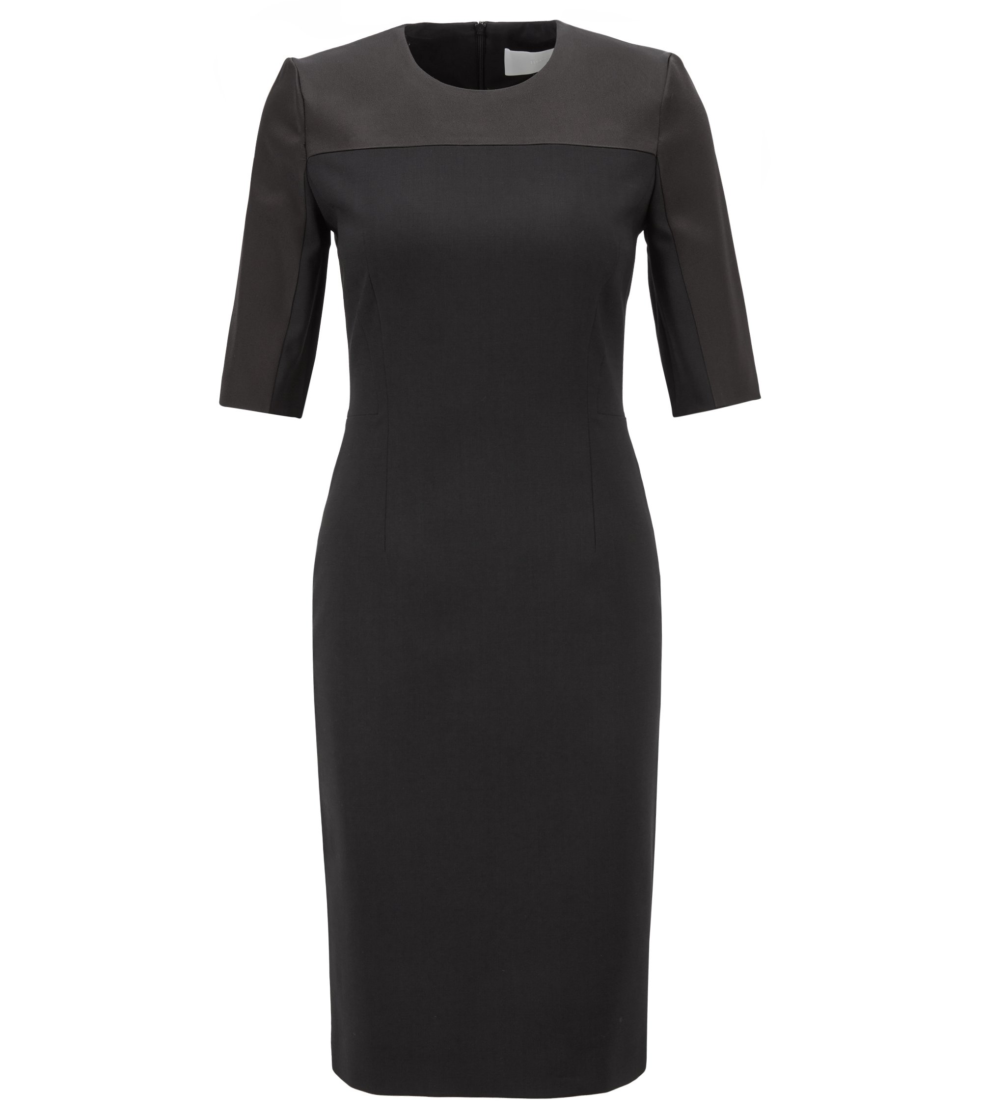 Cropped-sleeved dress in stretch virgin wool, Black