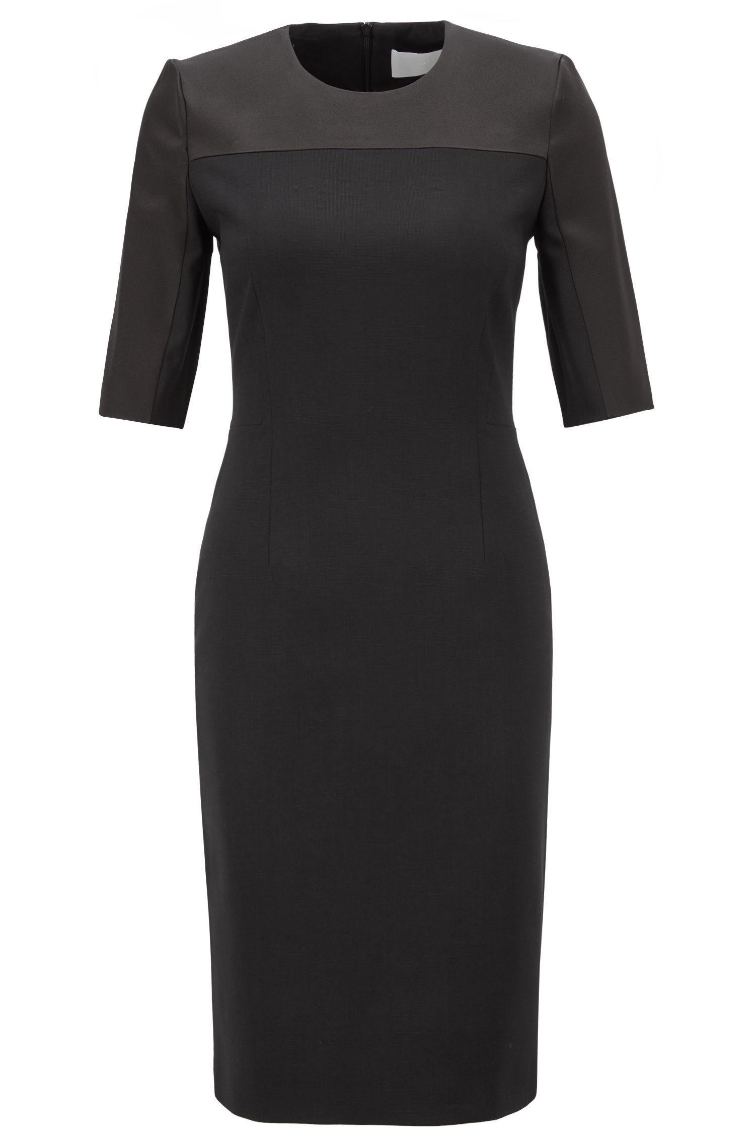 Cropped-sleeved dress in stretch virgin wool, Black