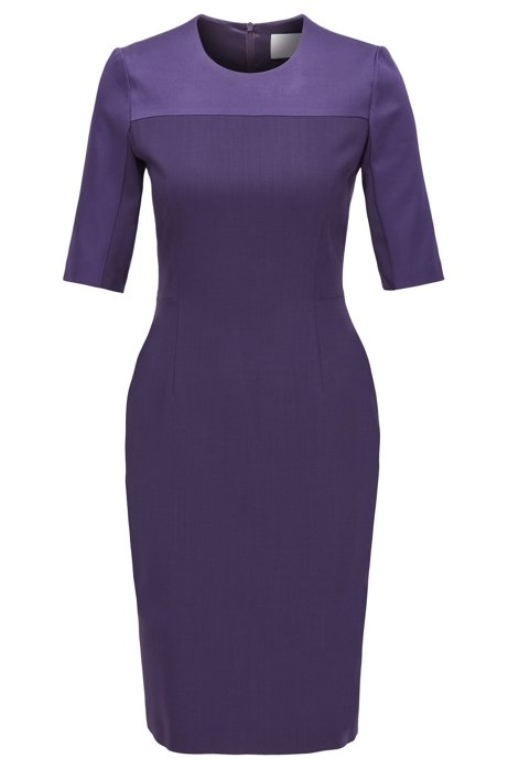 Cropped-sleeved dress in stretch virgin wool, Dark Purple