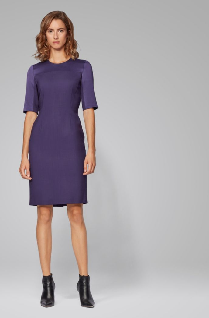 Cropped-sleeved dress in stretch virgin wool