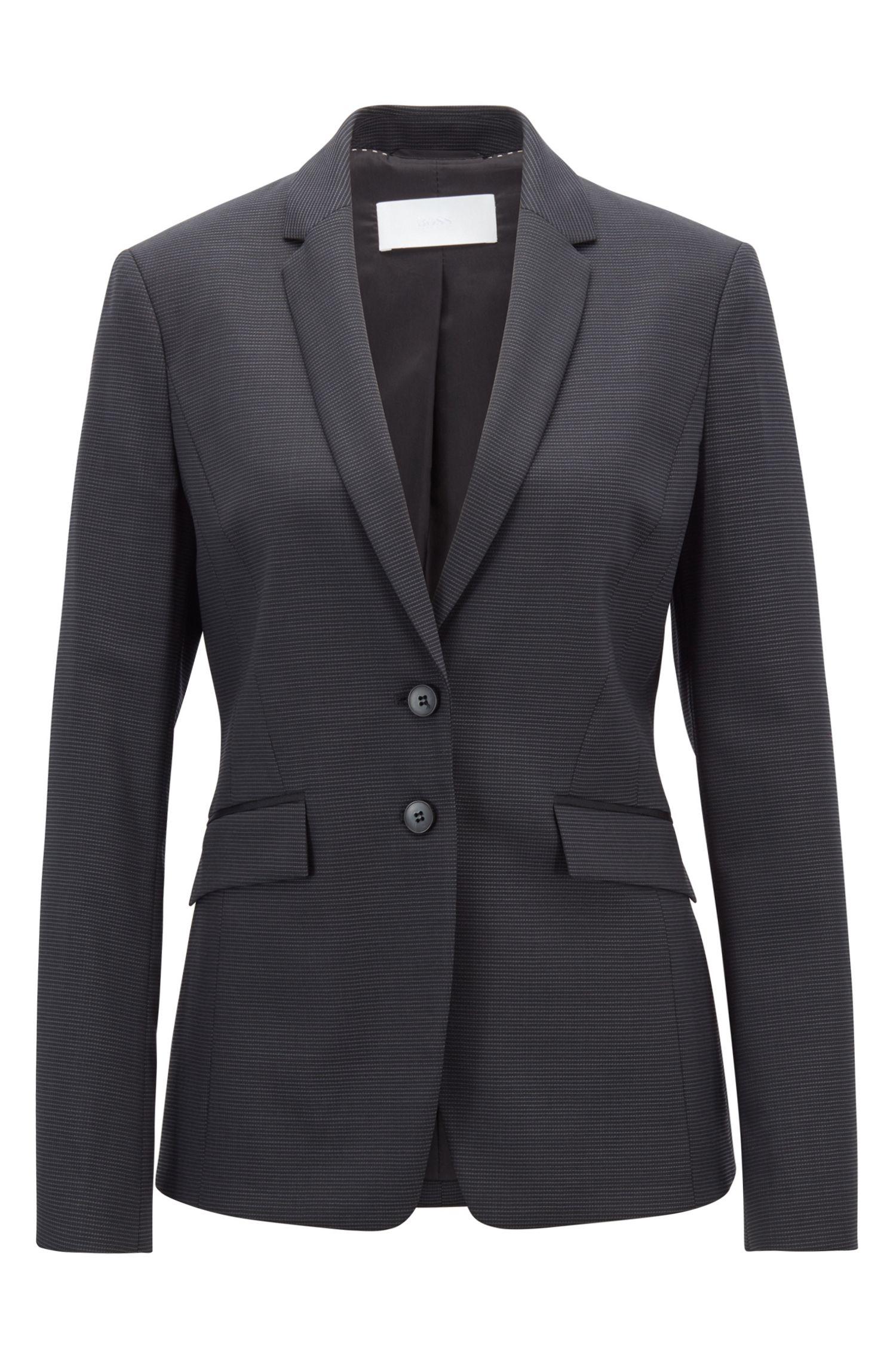 Regular-fit blazer in Italian stretch virgin wool, Patterned
