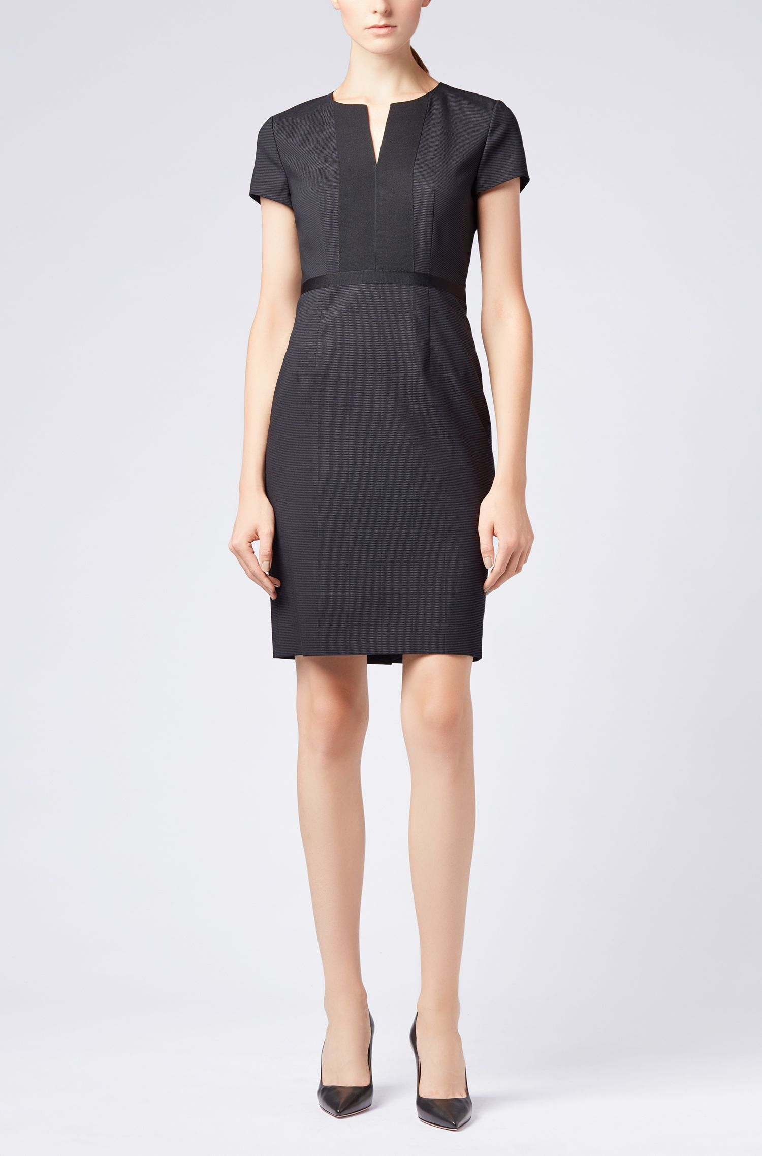 Shift dress in Italian stretch wool with notch neckline, Patterned