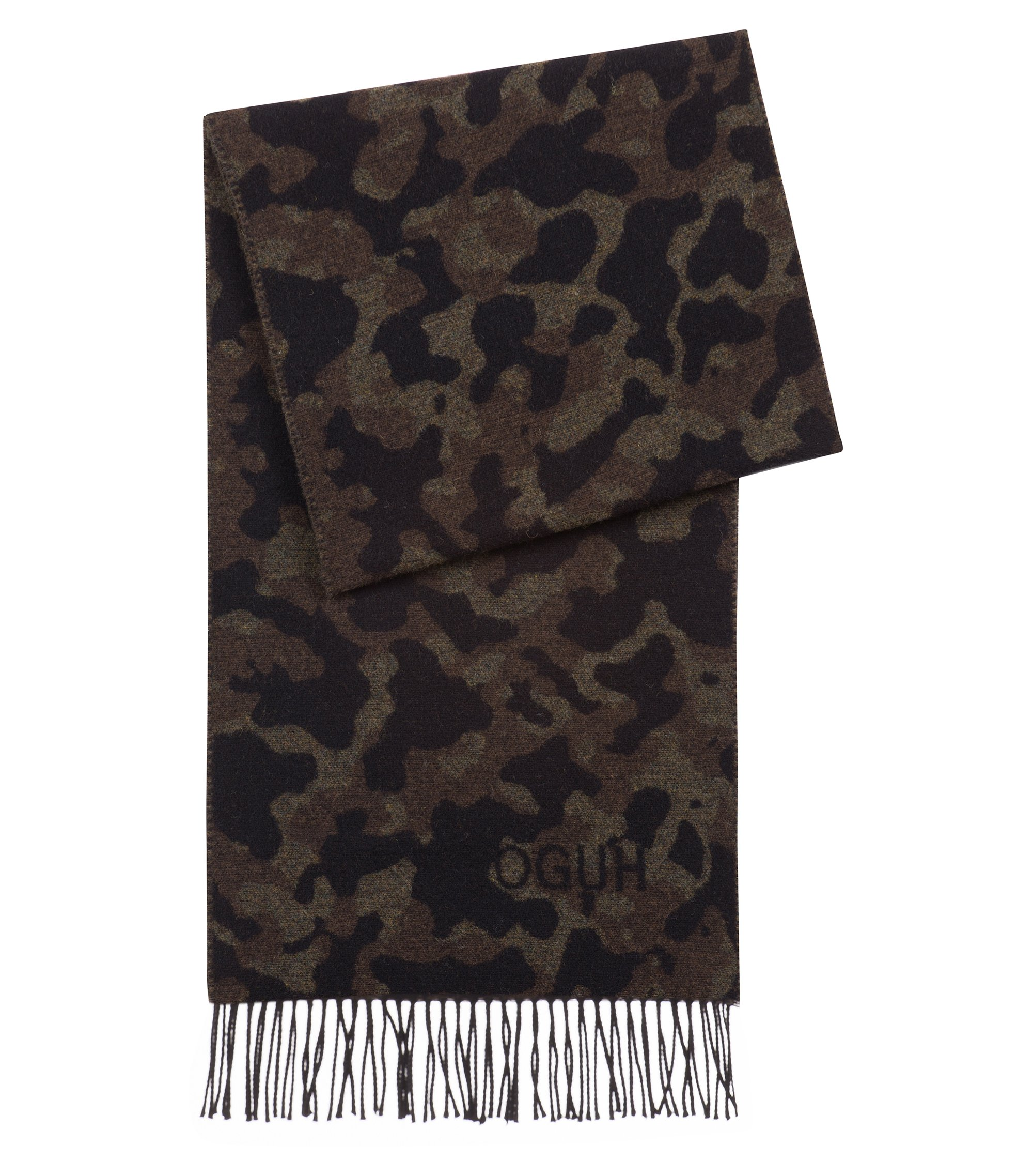 Camouflage scarf in a brushed-wool blend, Patterned