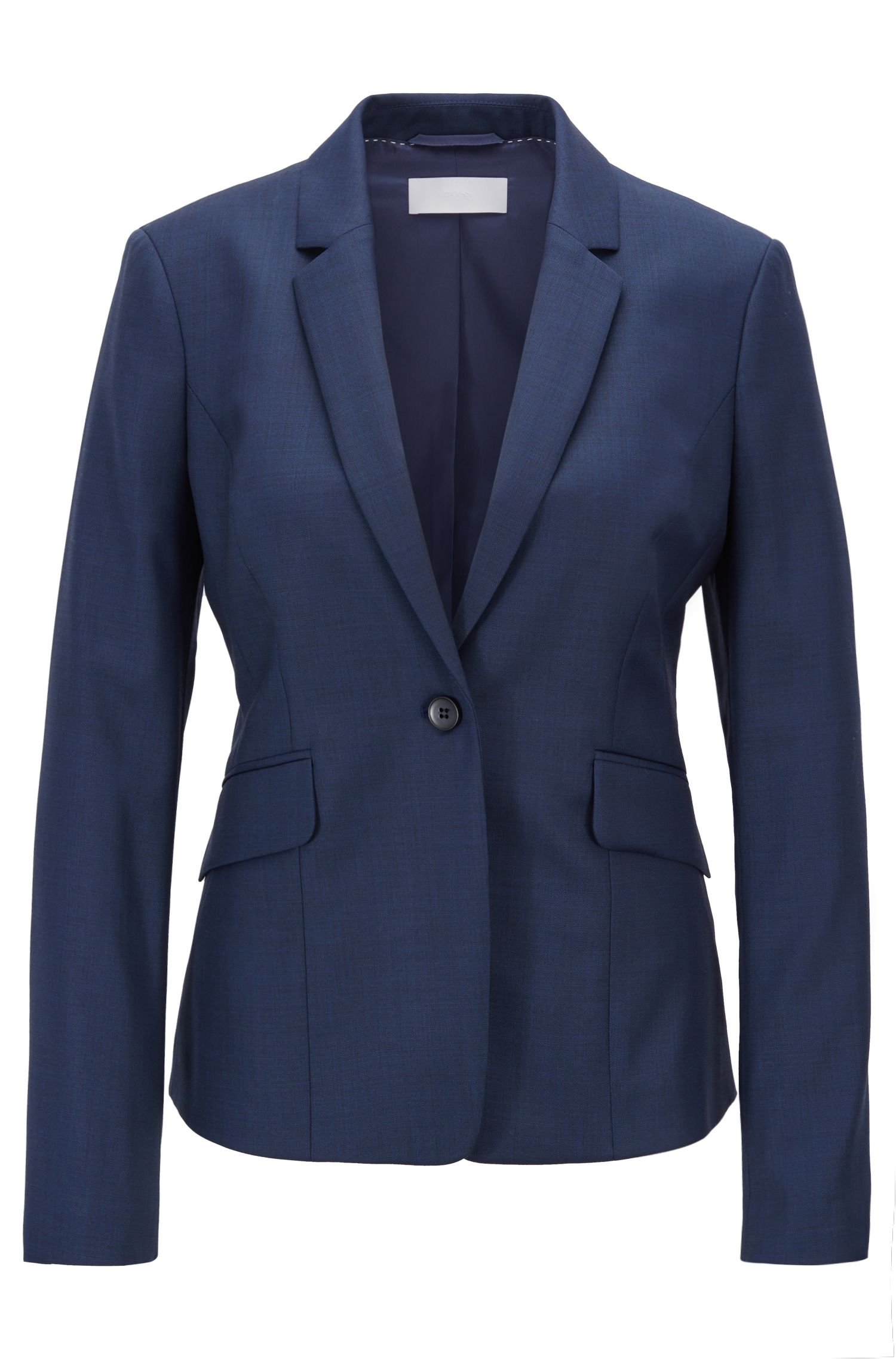 Regular-fit wool-blend jacket with dynamic cutlines, Open Blue