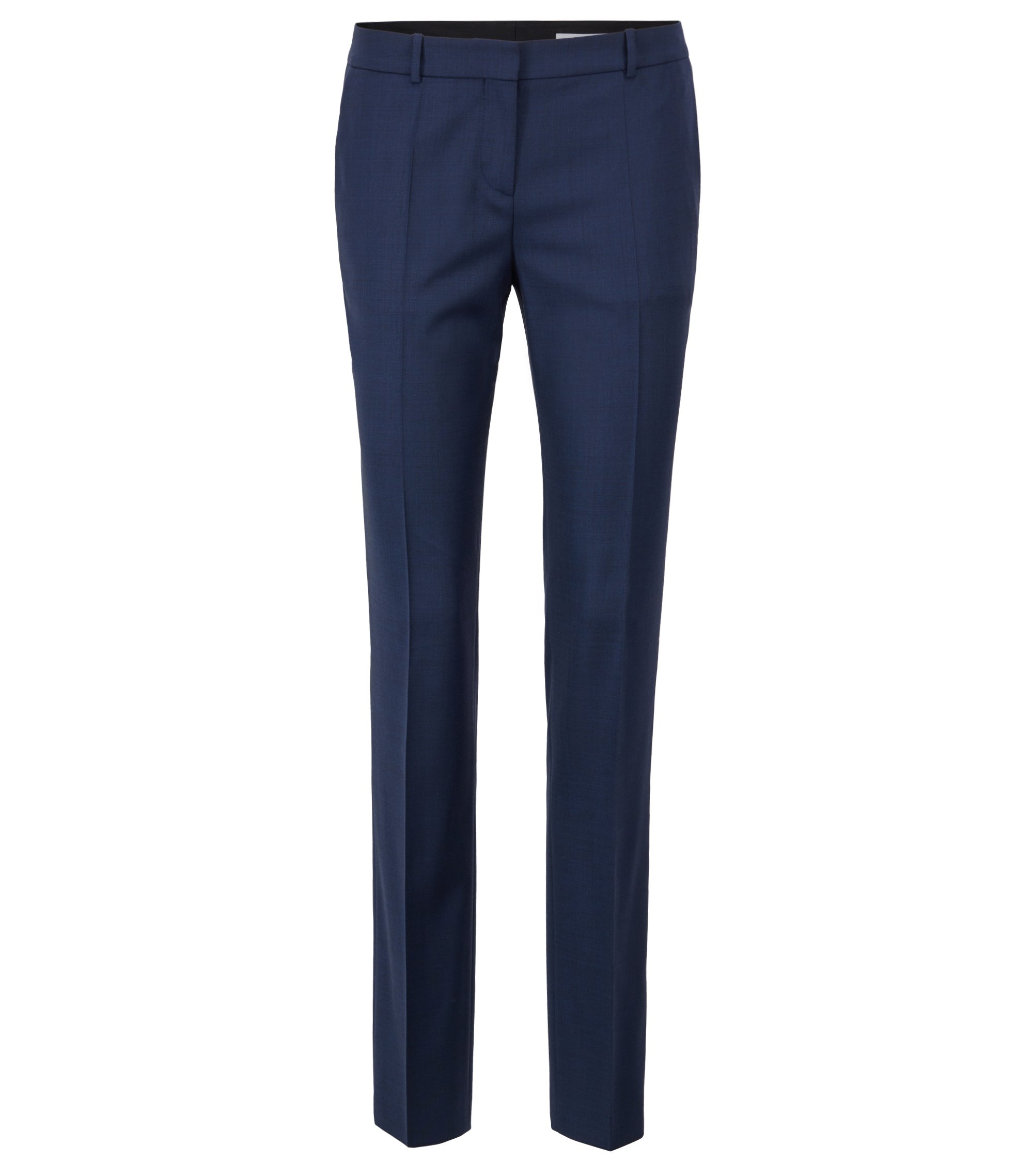Slim-leg pants in a melange stretch-wool blend, Open Blue