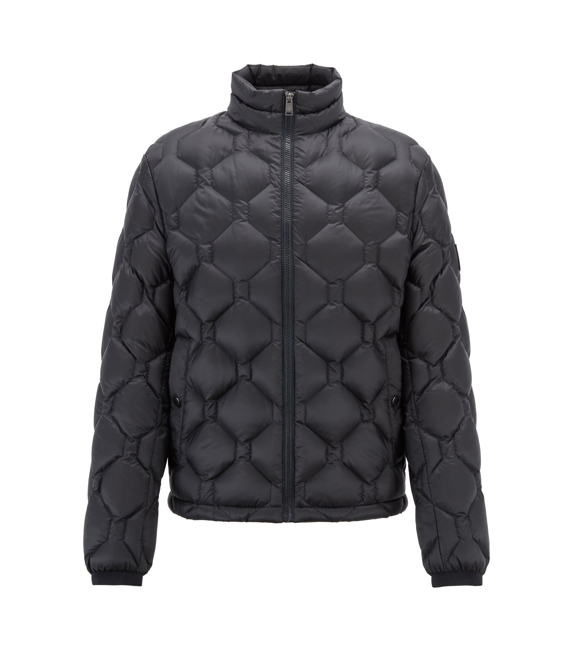 Blouson jacket in down-filled quilted technical fabric, Open Blue