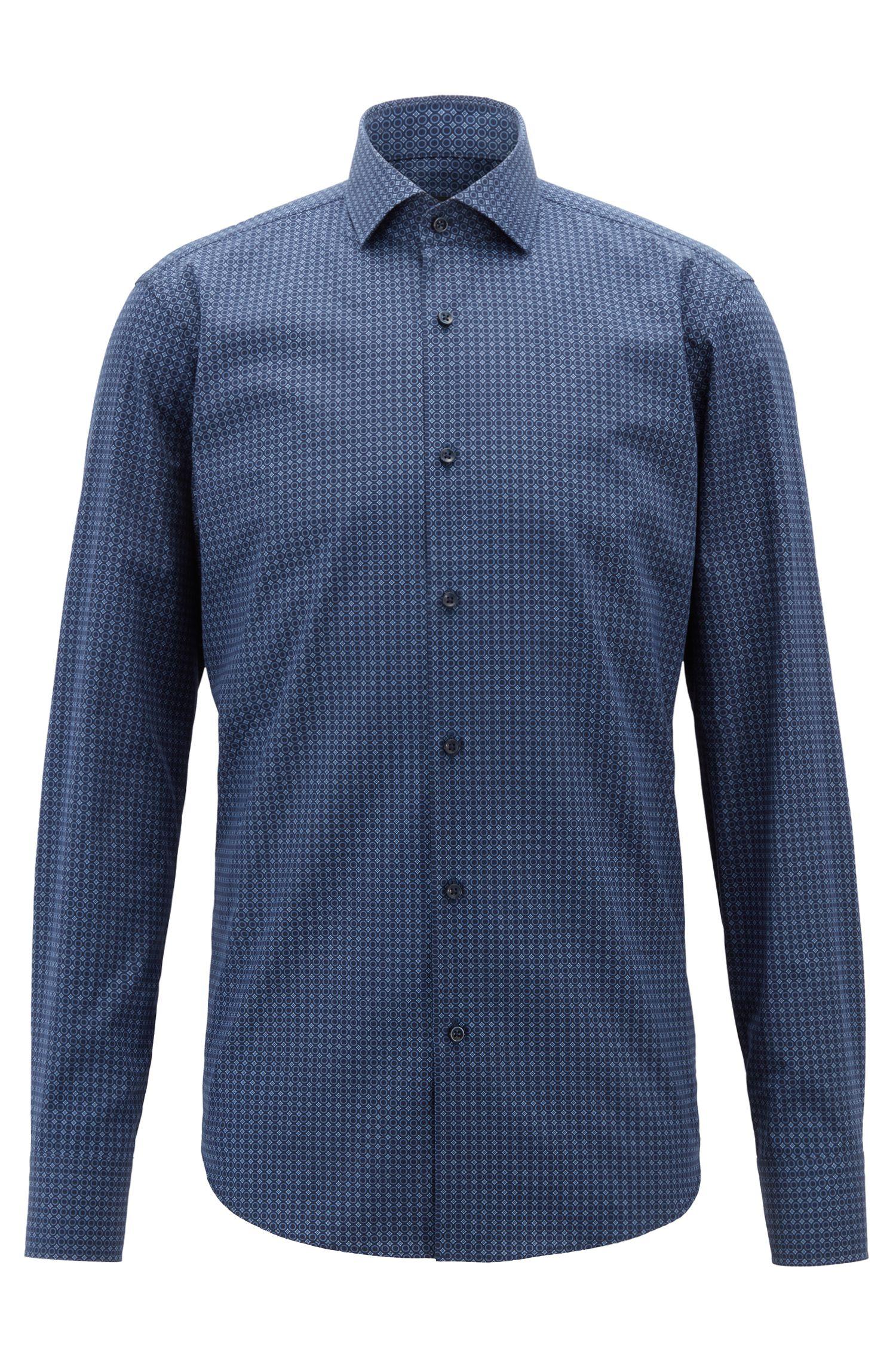 Italian-made shirt in cotton poplin with geometric print, Open Blue