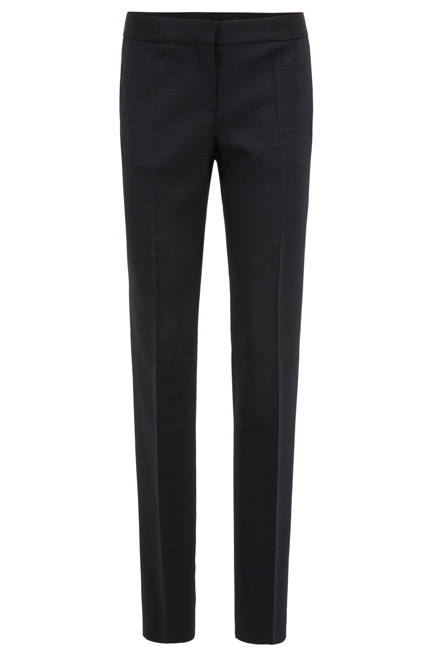 Straight-leg pants in structured stretch virgin wool, Patterned