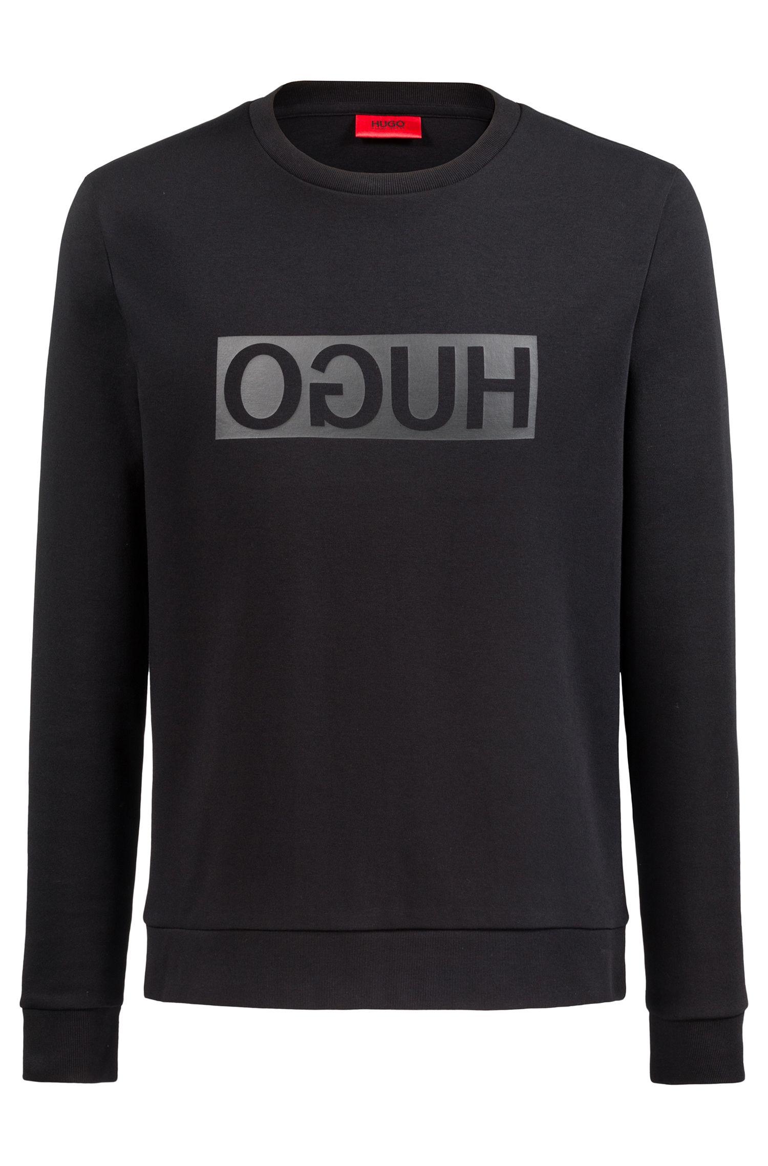 Crew-neck sweatshirt in cotton with reverse-logo print, Black