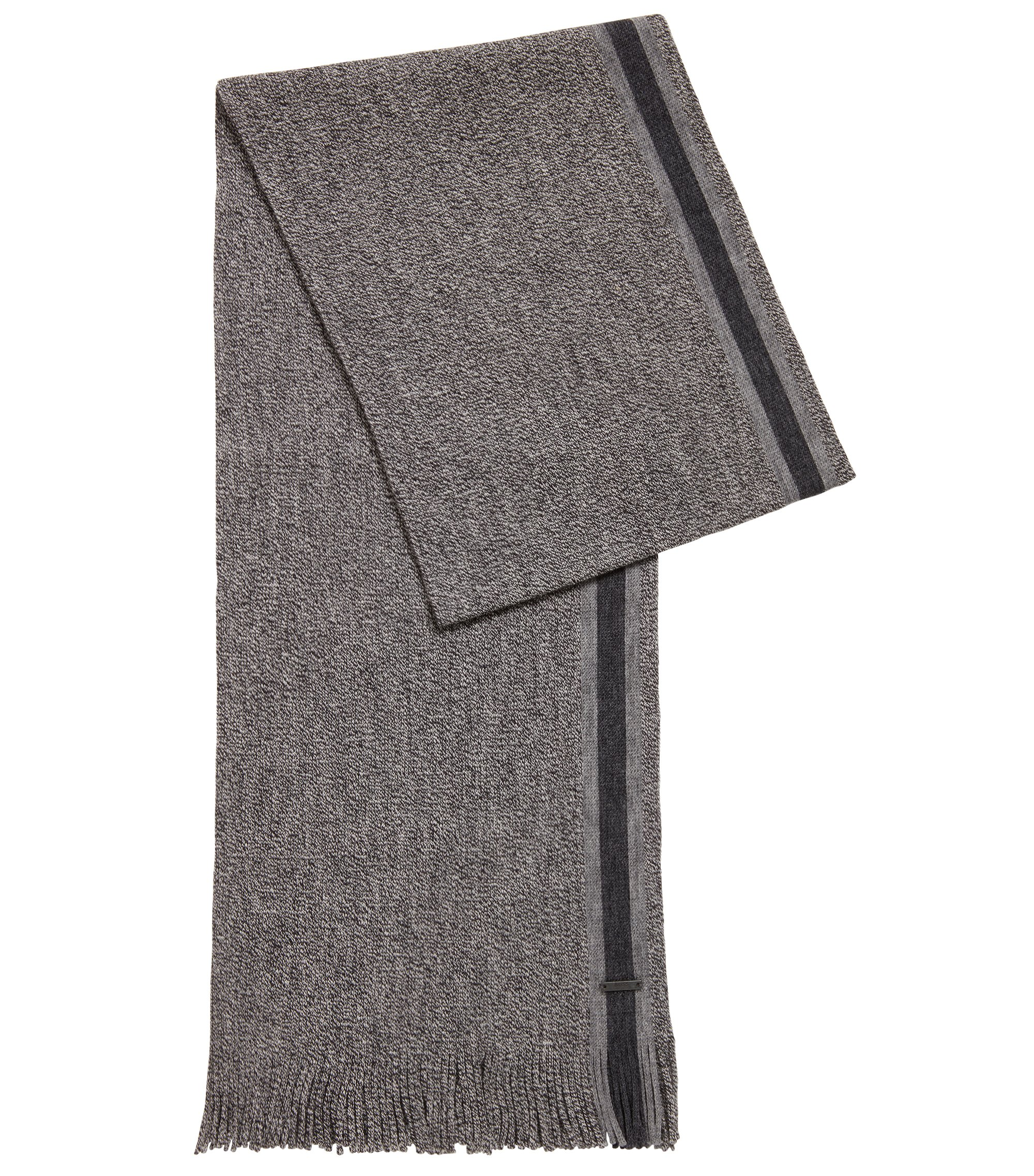 Virgin-wool scarf with engineered stripe, Black