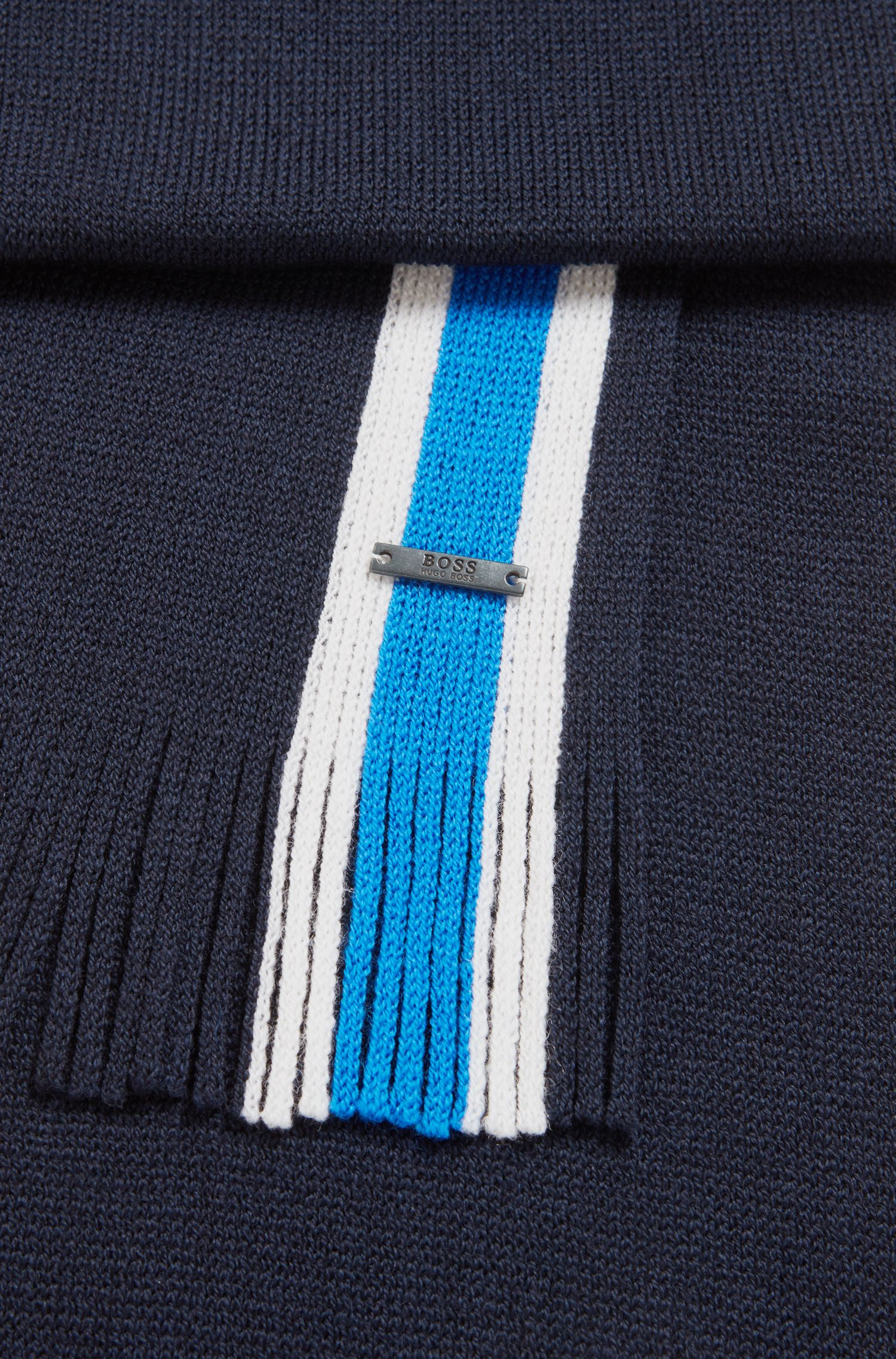 Virgin-wool scarf with engineered stripe, Open Blue