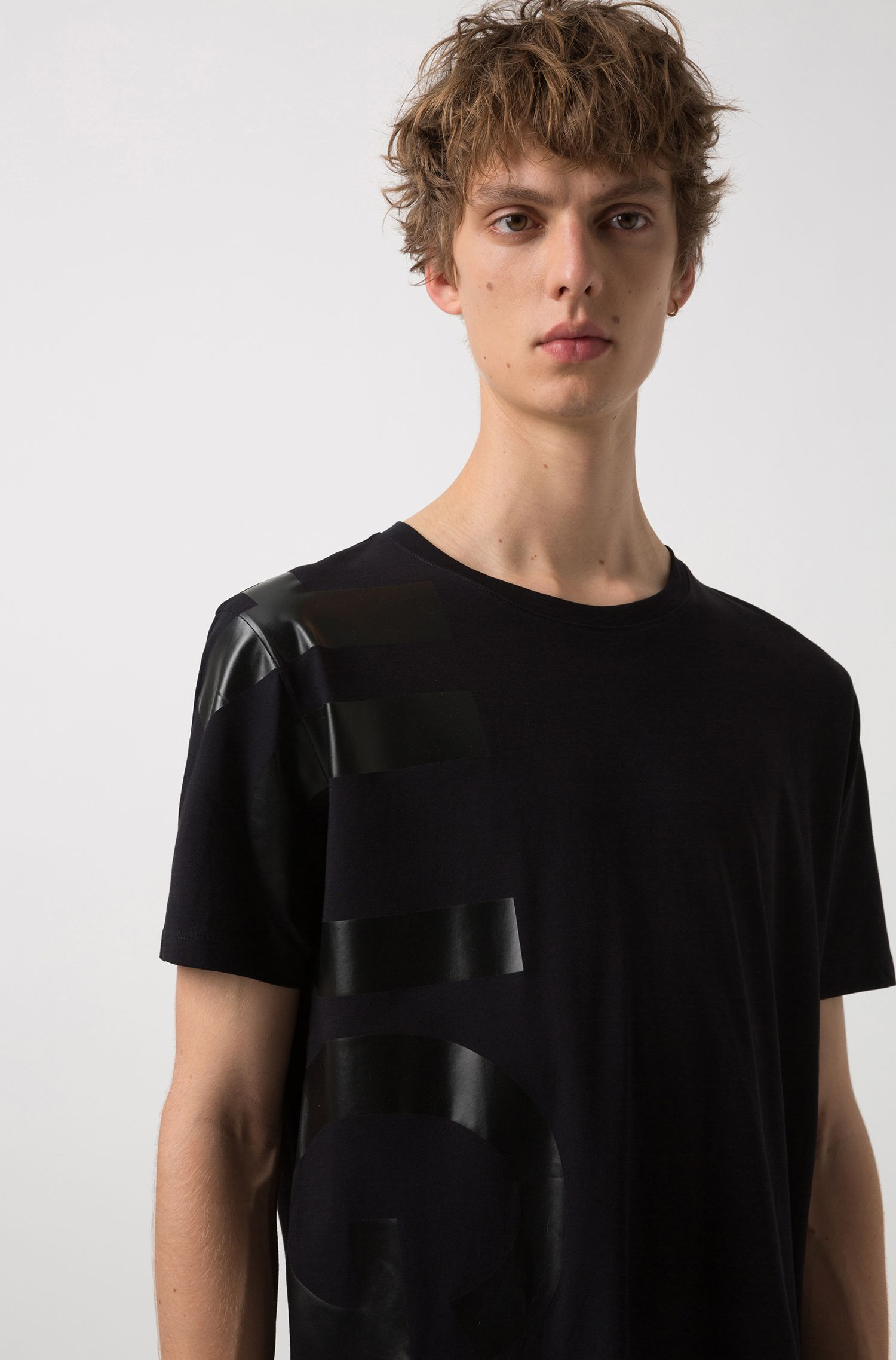 Oversized-fit T-shirt in cotton with large-scale logo, Black