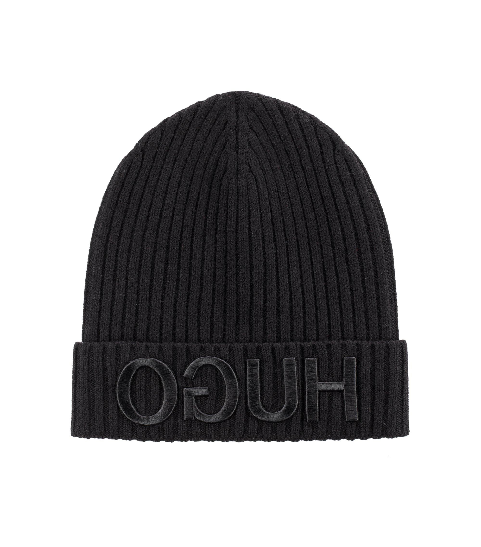 Unisex beanie hat in wool with reverse logo, Black