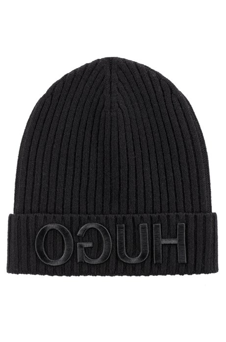 e4007bb7 Unisex beanie hat in wool with reverse logo, Black
