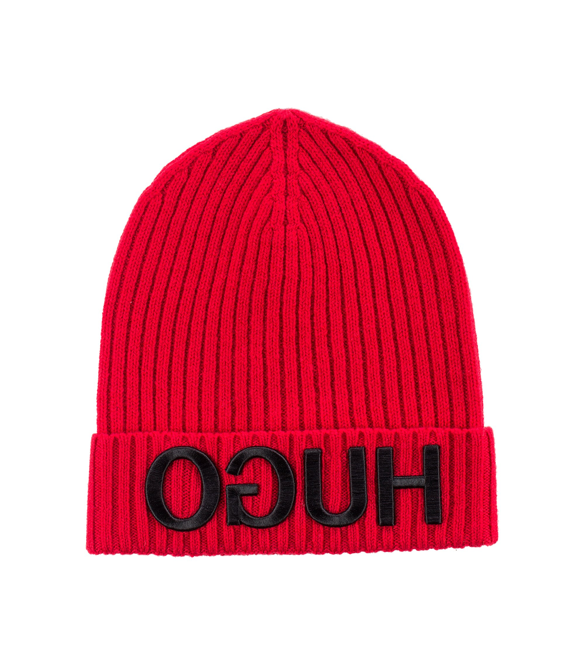 Unisex beanie hat in wool with reverse logo, Red