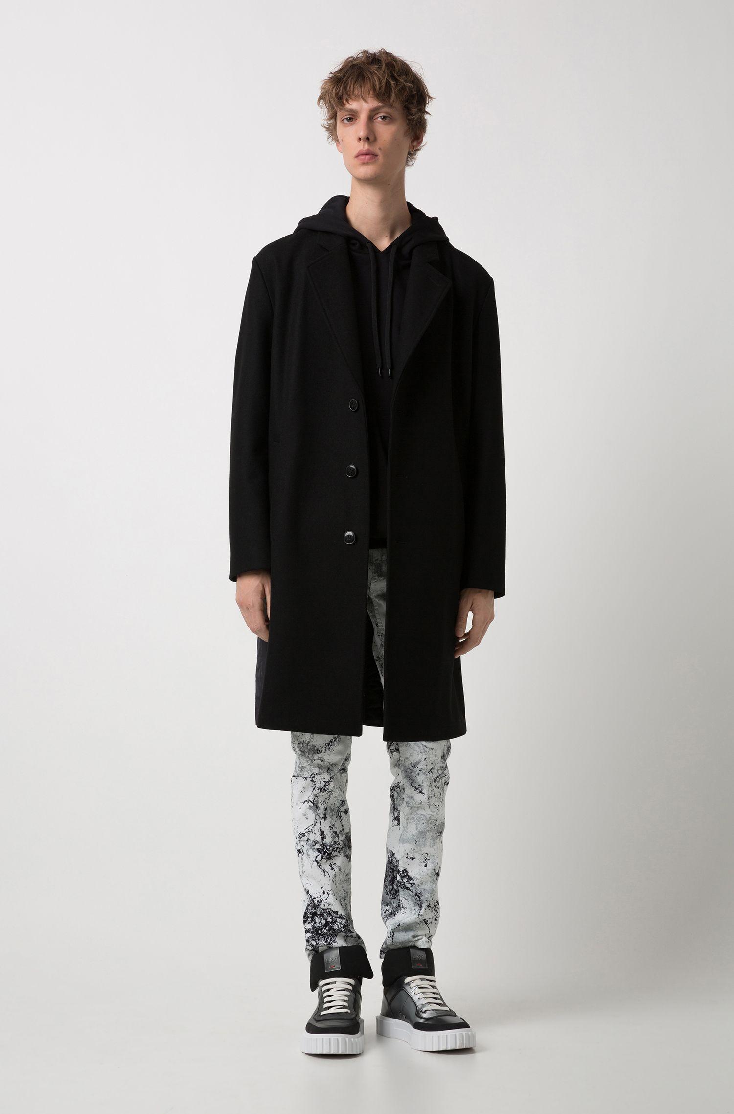 Oversized-fit sweatshirt in interlock cotton with logo hood, Black