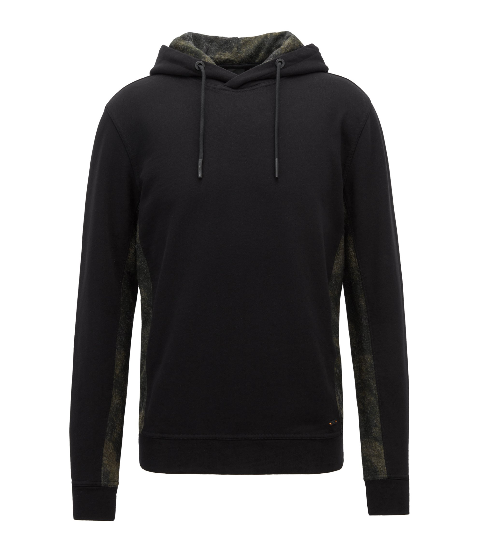Relaxed-fit hoodie with contrast camouflage panels, Black
