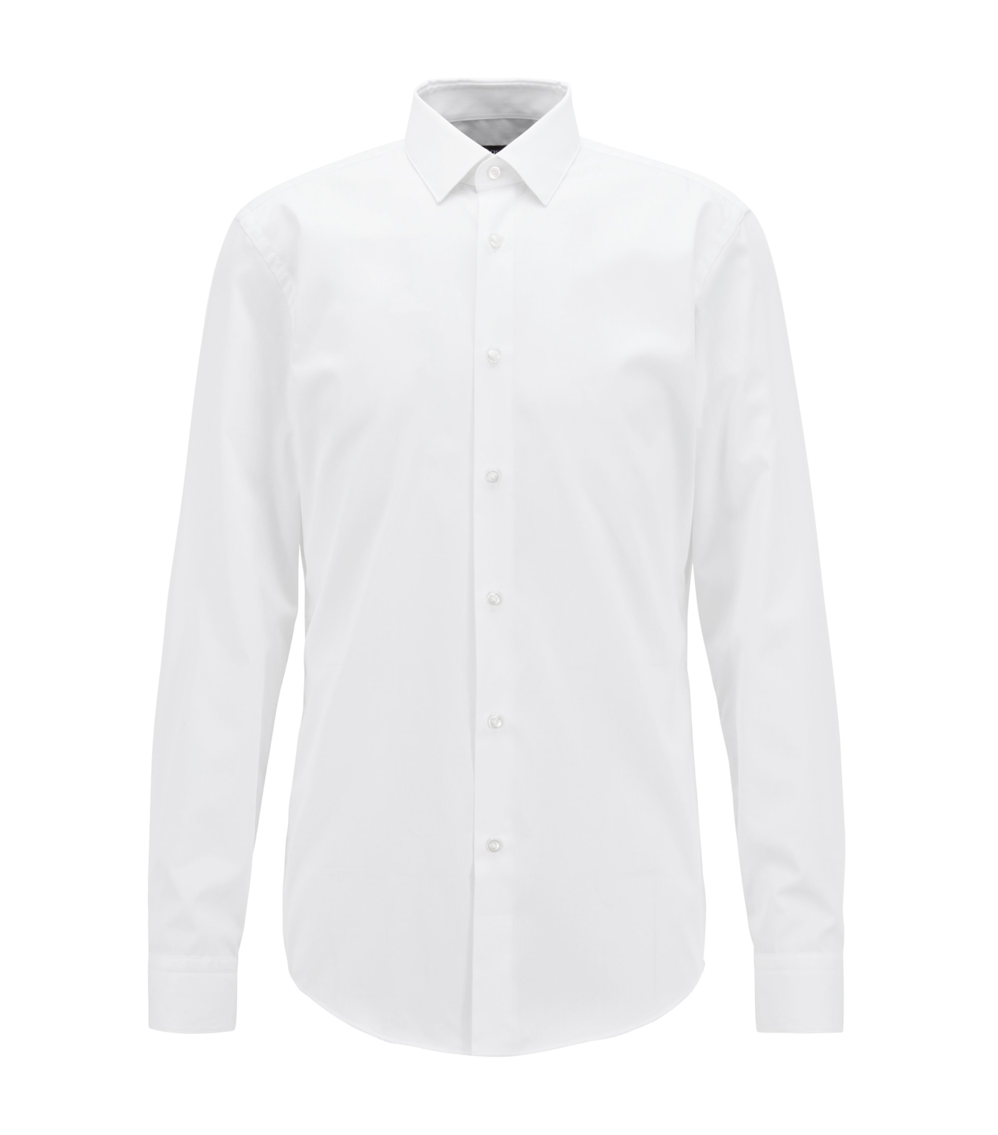 Slim-fit shirt in structured cotton with aloe vera finish, White