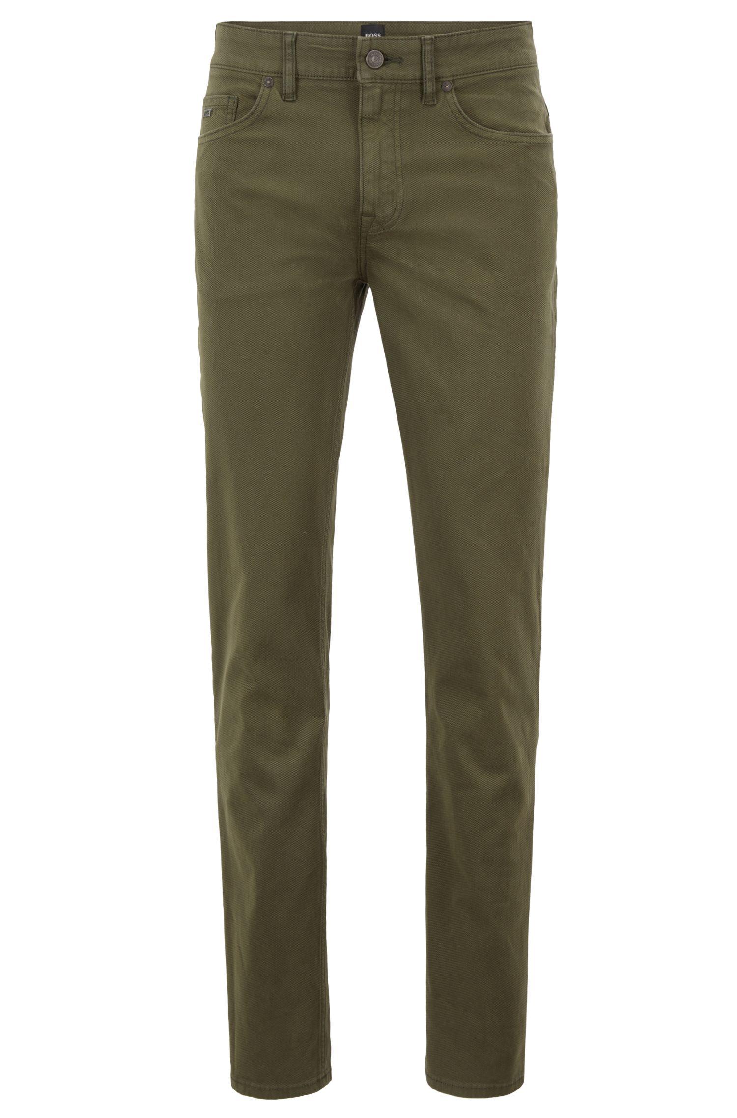 Slim-fit jeans in micro-structured dobby stretch denim, Dark Green