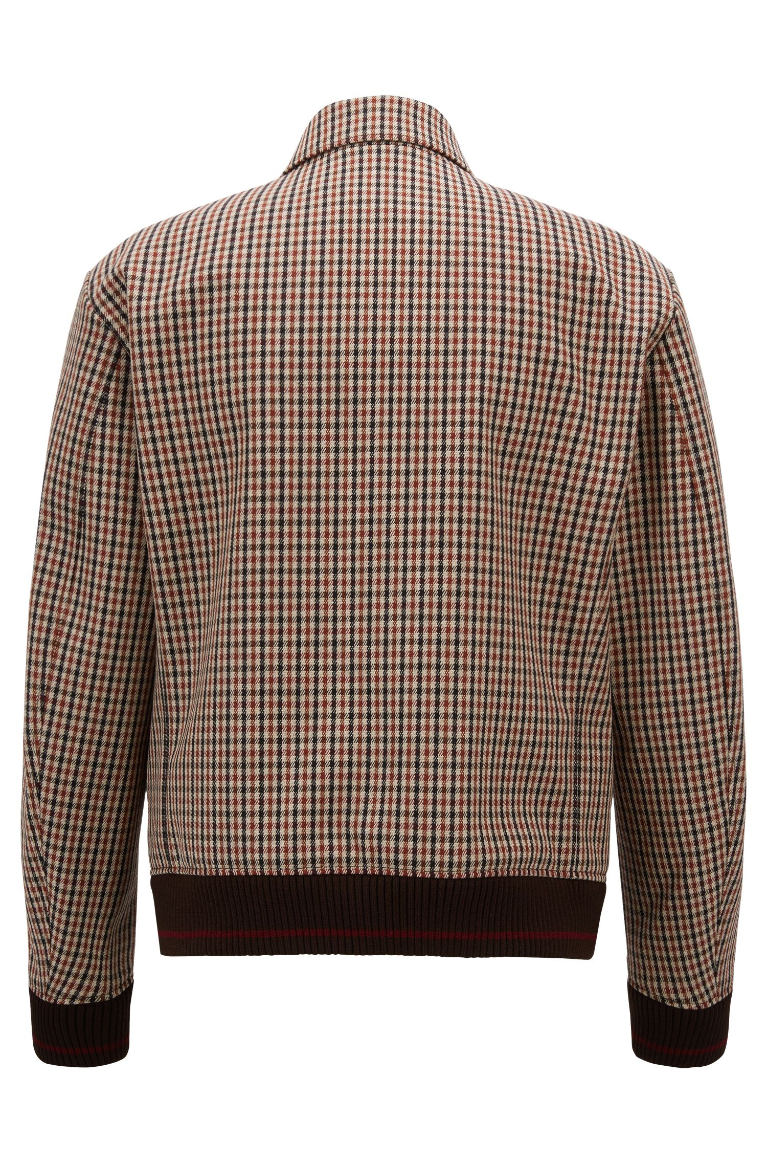 Made in Germany checkered blouson jacket with contrast cuffs, Light Brown