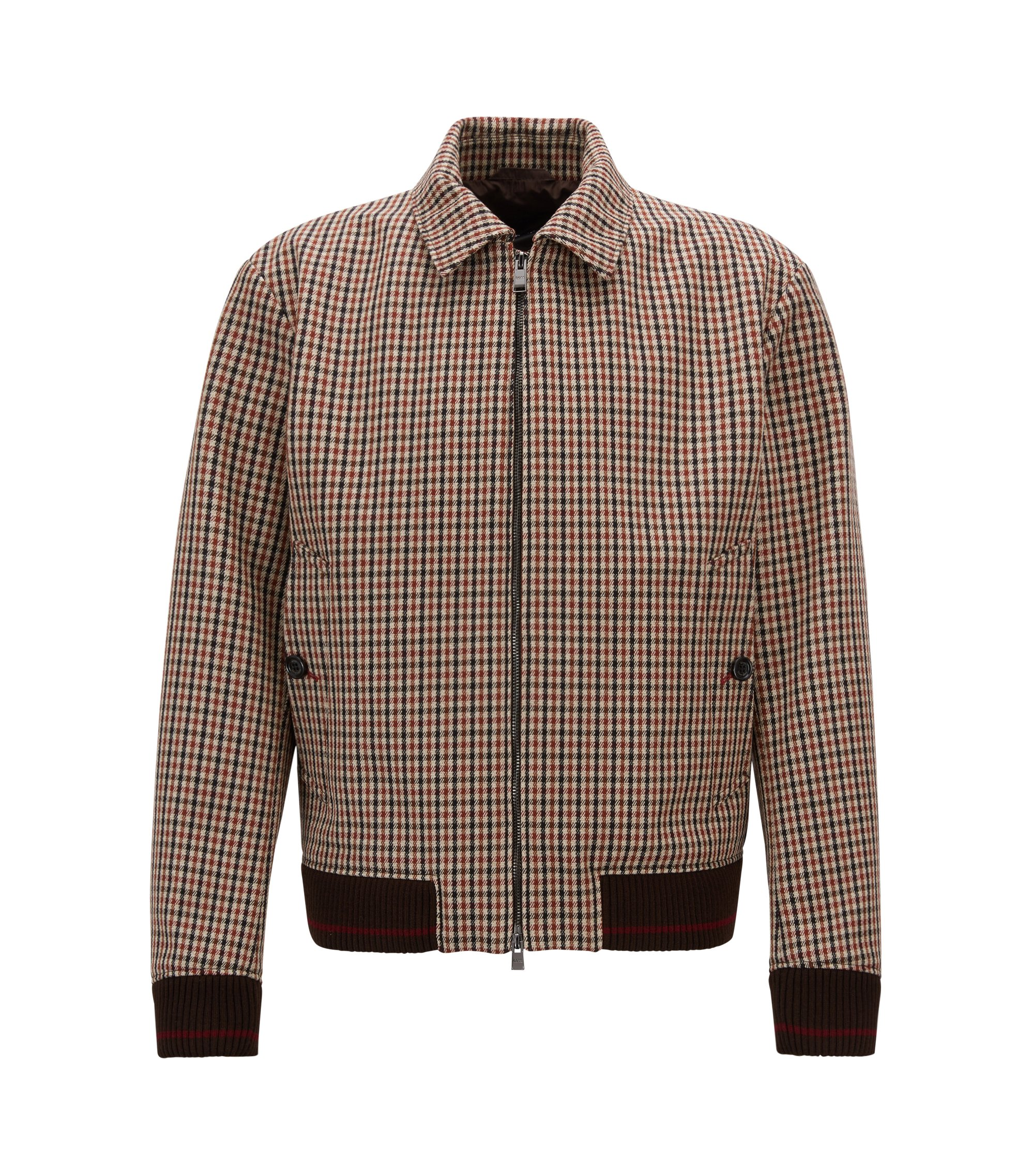 Blouson jacket in checkered wool-blend fabric, Light Brown