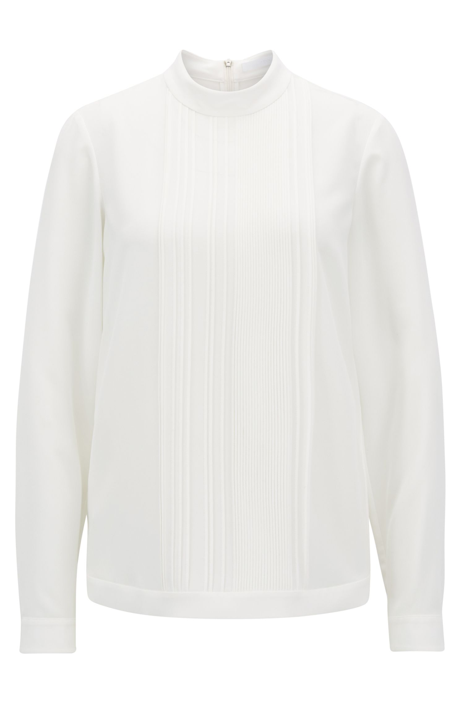 Lightweight top in stretch crepe with pleated front panel, Natural