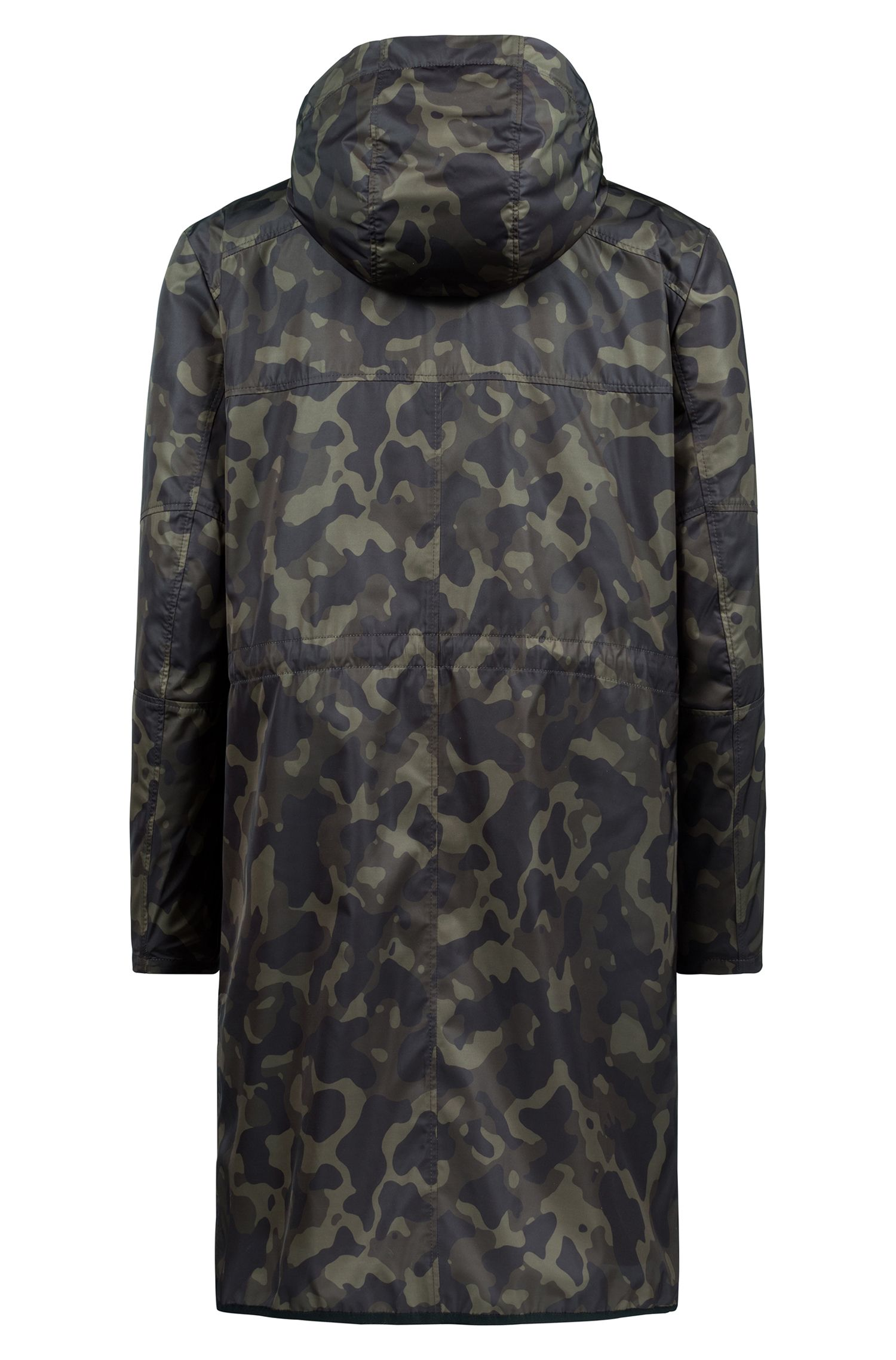 Camouflage-print coat with detachable faux-shearling lining, Dark Green
