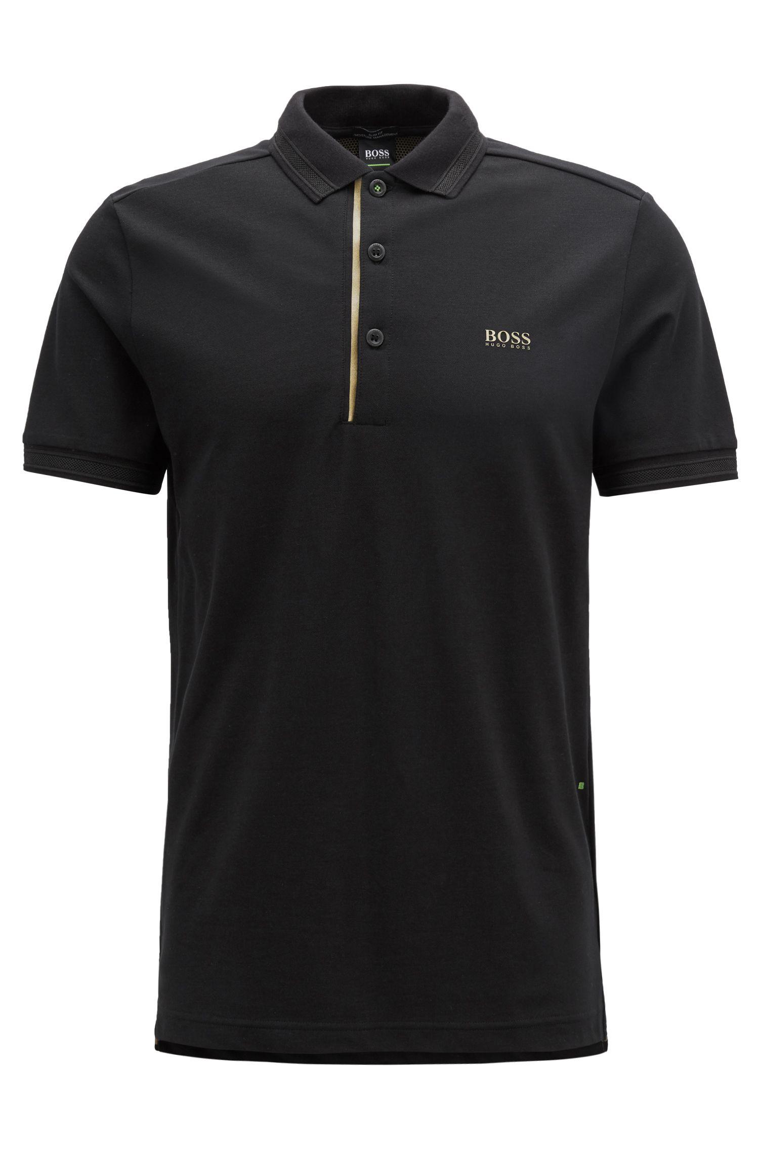 Gold Capsule slim-fit polo shirt with S.Café, Black