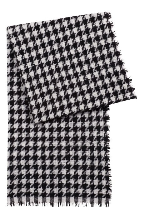 HUGO - Virgin-wool-blend scarf with jacquard-knit houndstooth check ...