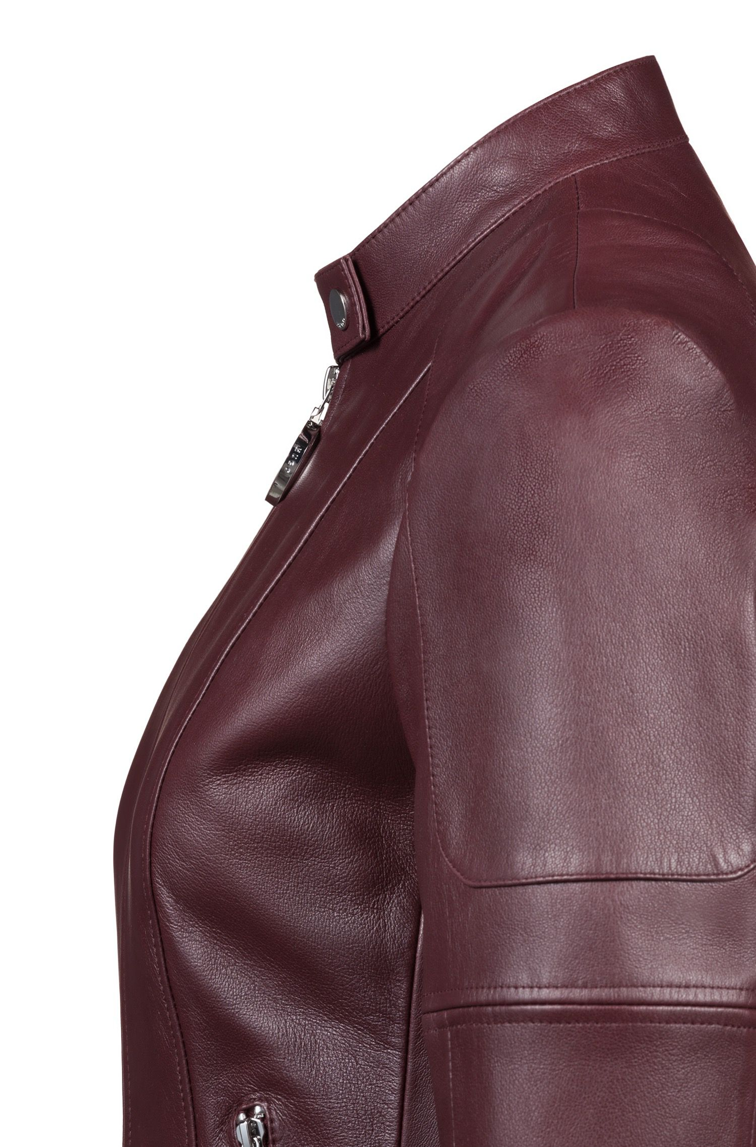 Regular-fit lambskin leather jacket with zippered cuffs, Dark Red