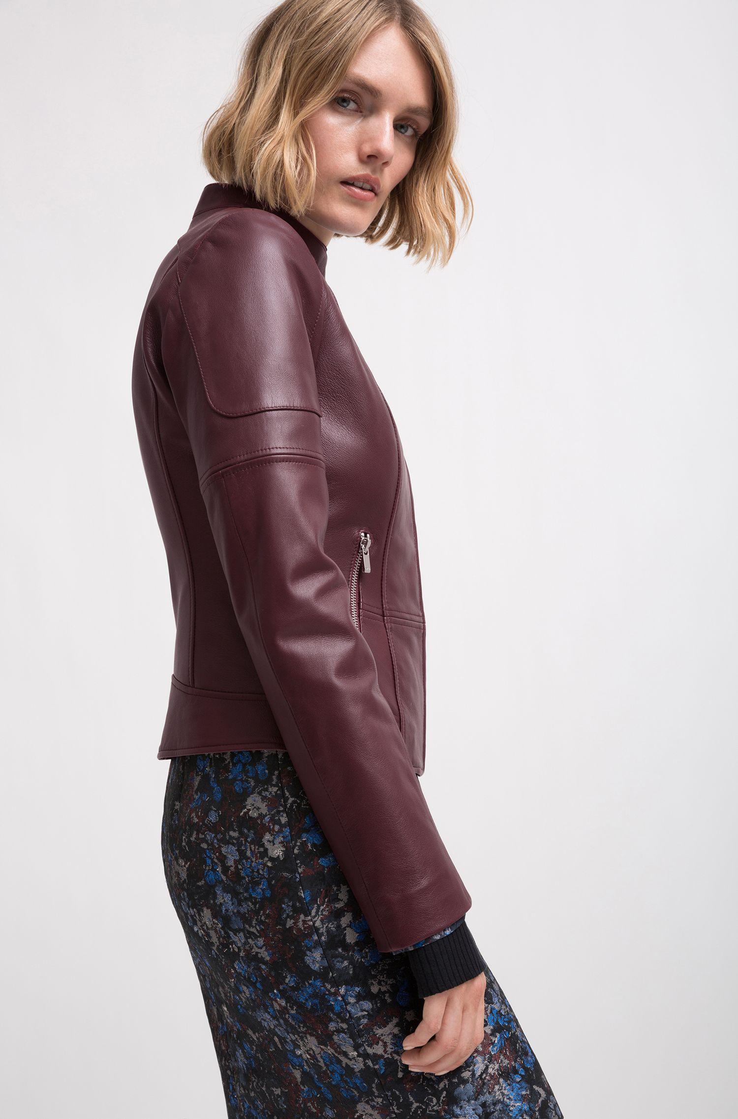 Regular-fit lambskin leather jacket, Dark Red