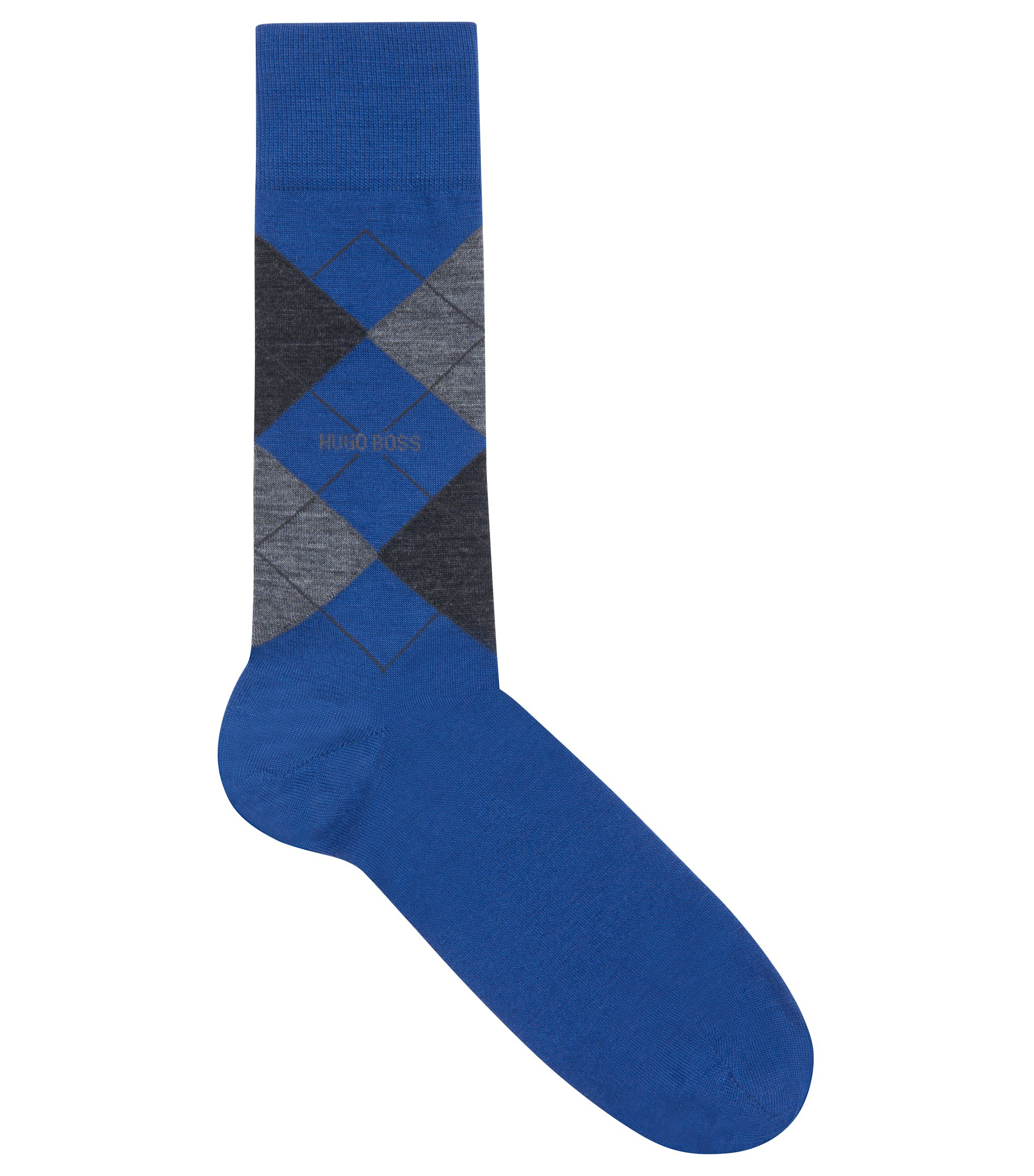 Lightweight wool-blend socks with argyle pattern, Blue