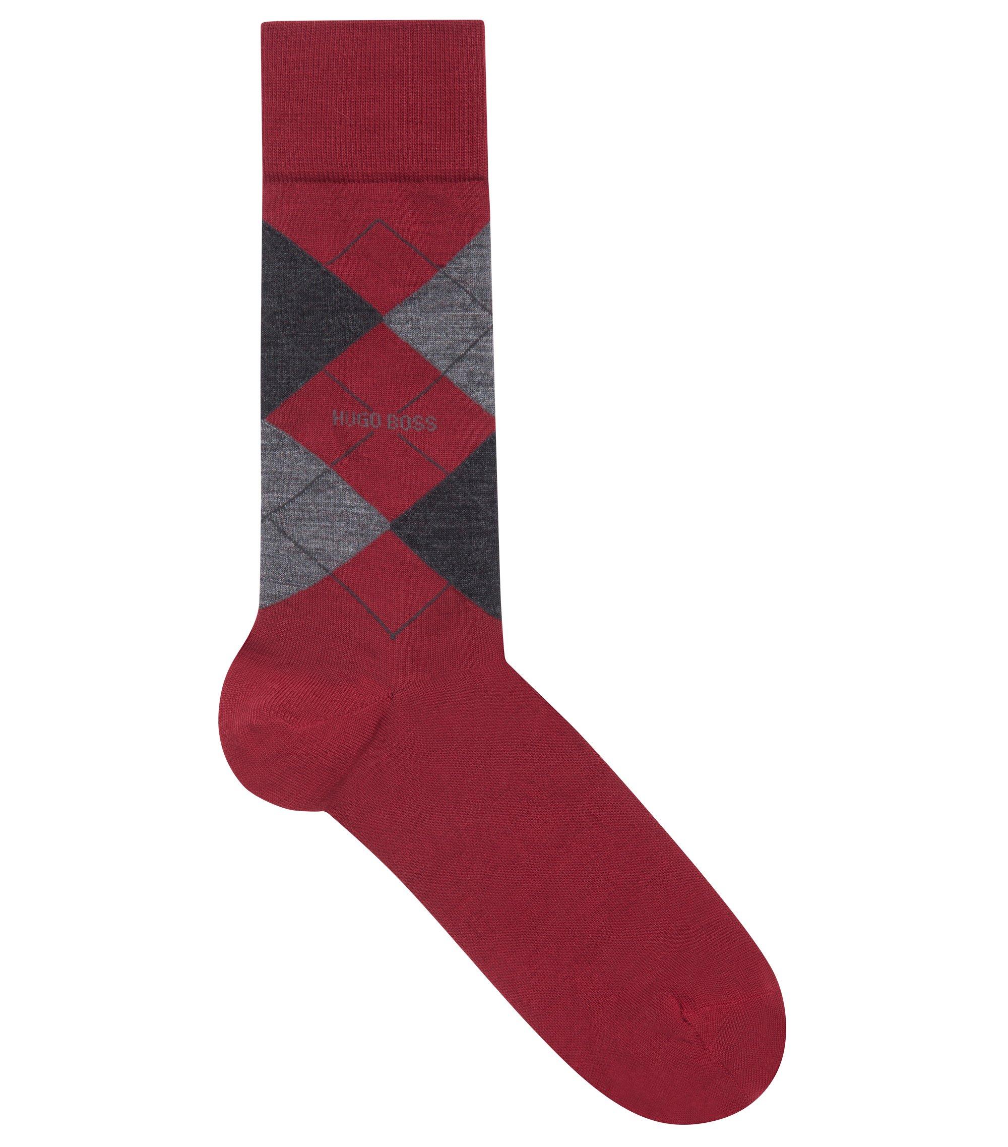 Lightweight wool-blend socks with argyle pattern, Dark Red