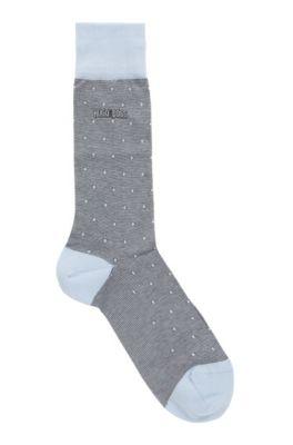 Patterned socks in a mercerized cotton blend, Light Blue