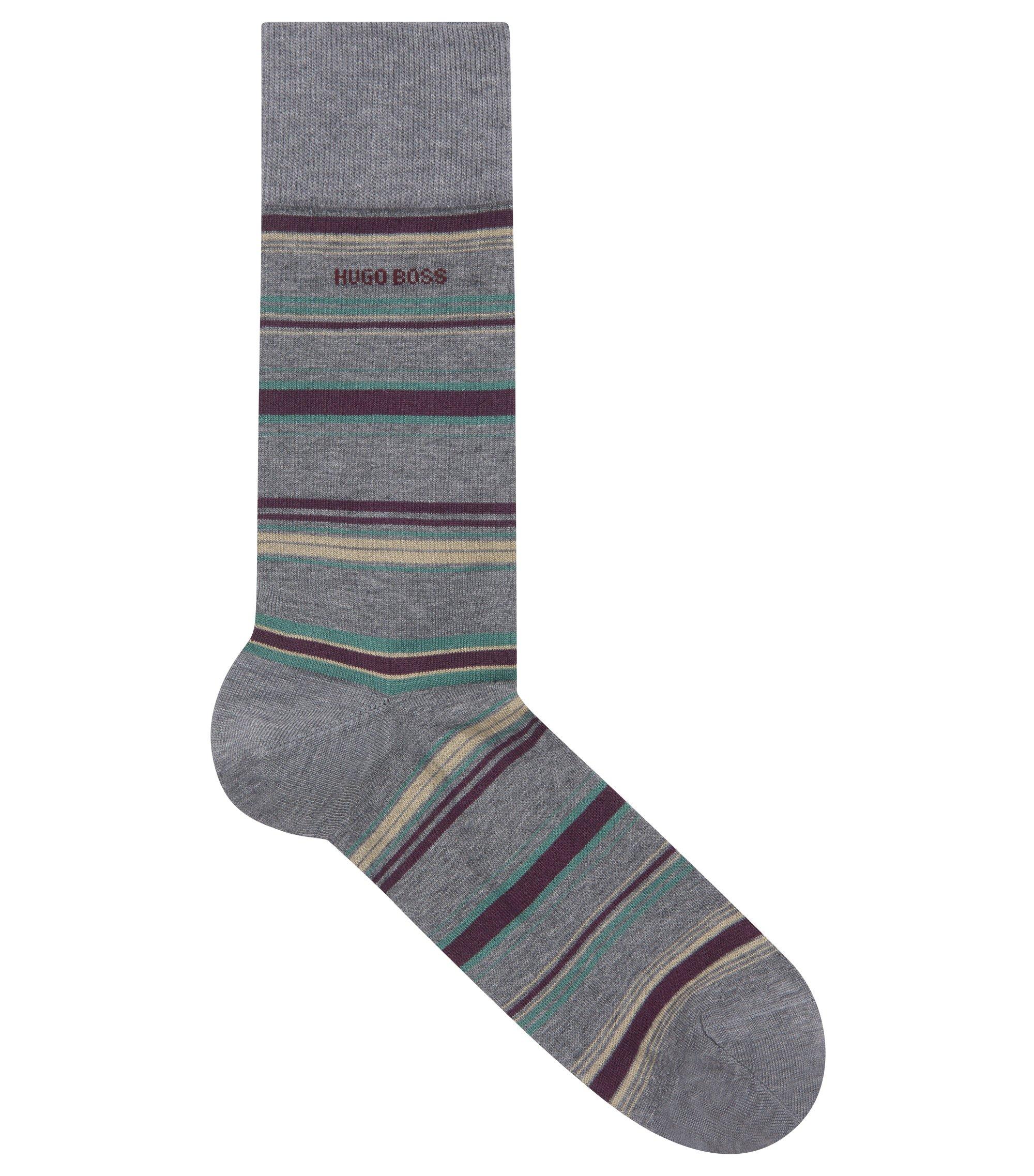 Striped socks in a mercerized-cotton blend, Grey