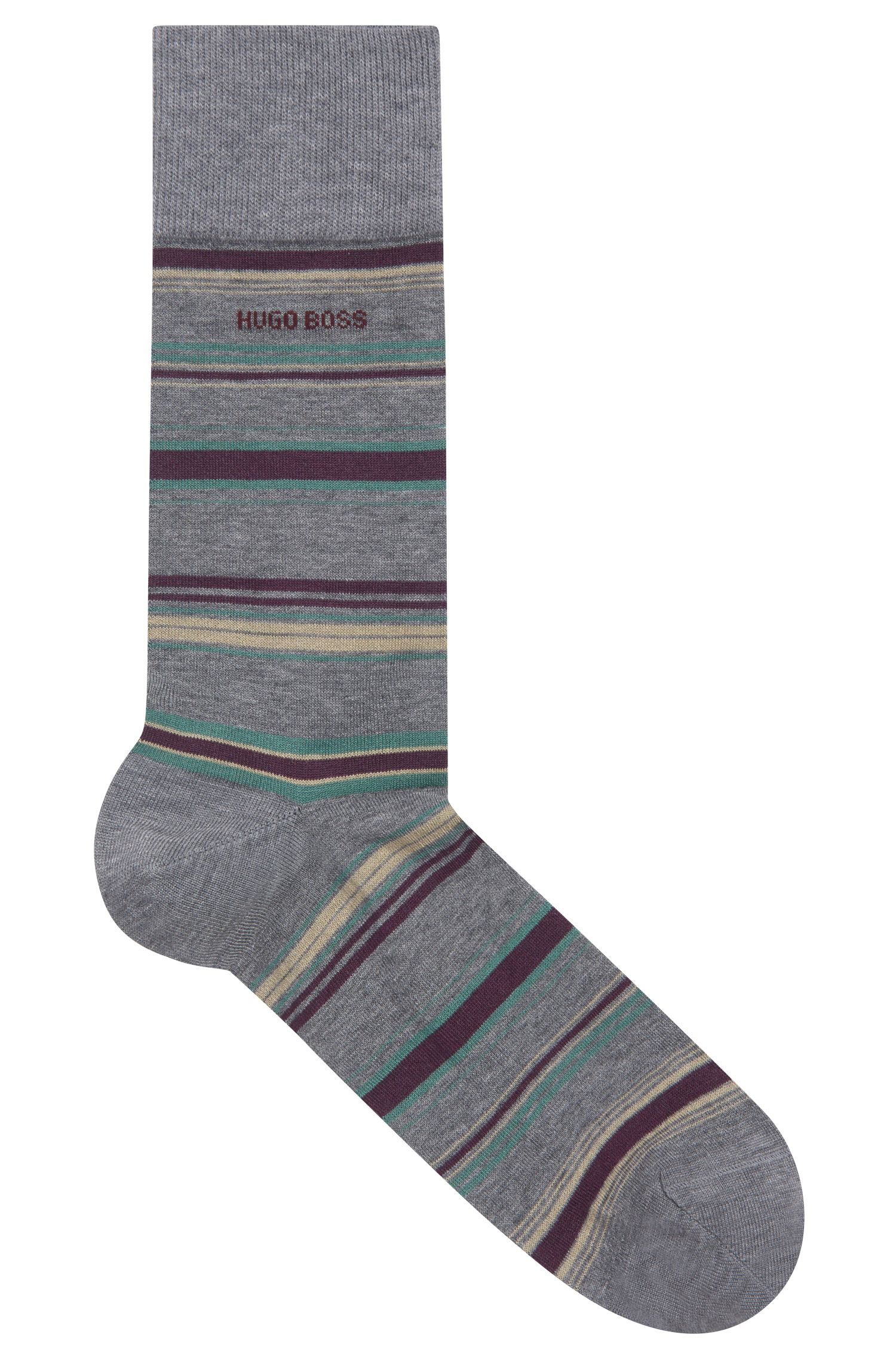 Striped socks in a mercerized-cotton blend, Grey