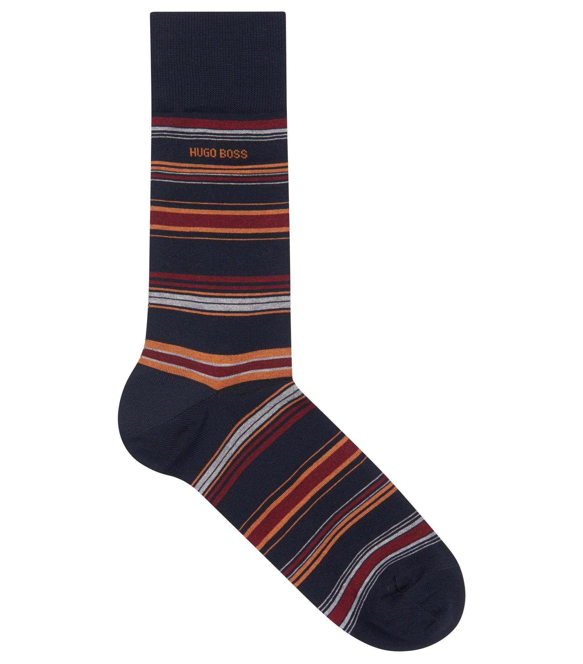 Striped socks in a mercerized-cotton blend, Dark Blue