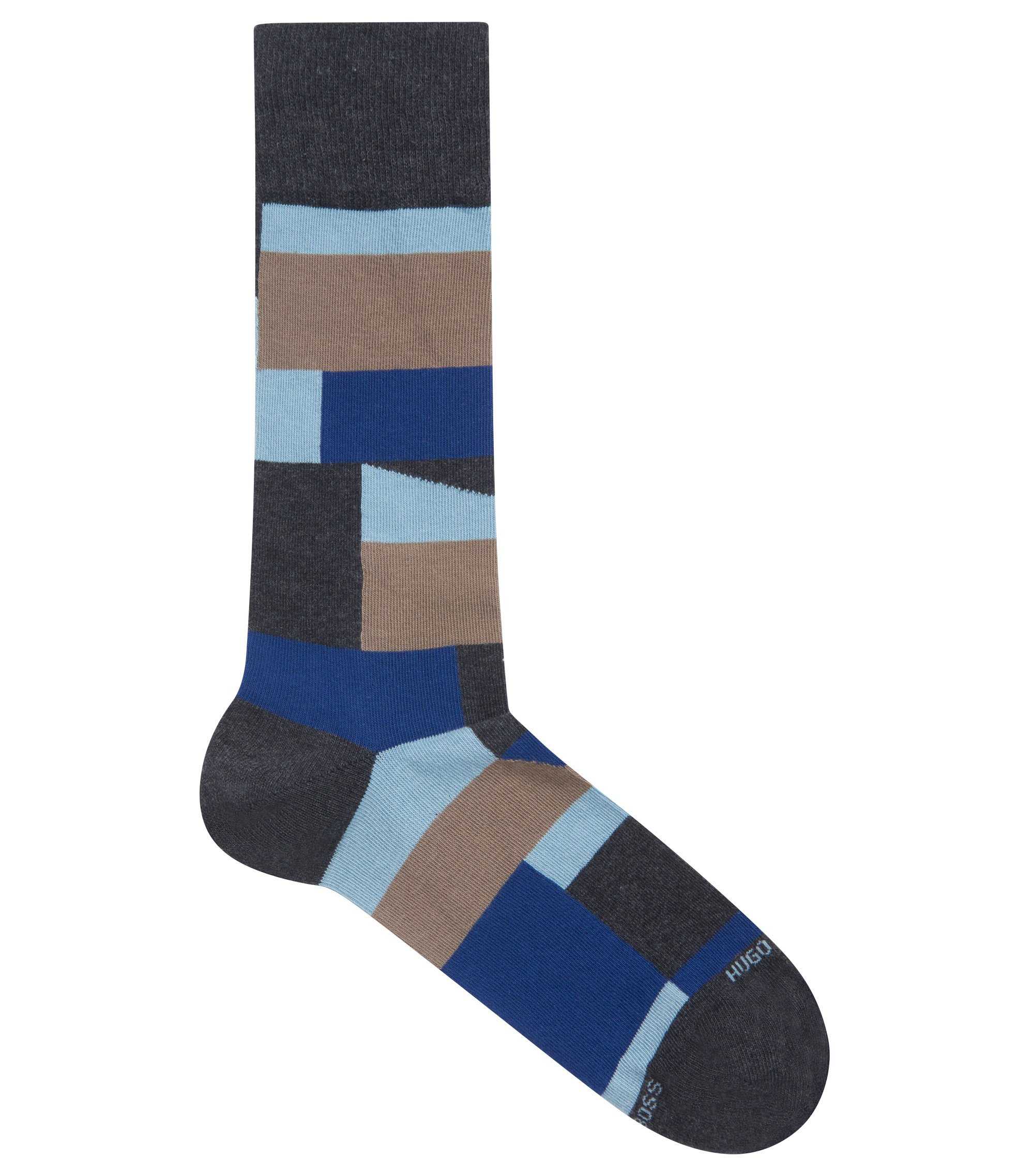 Color-block socks in a combed-cotton blend, Charcoal