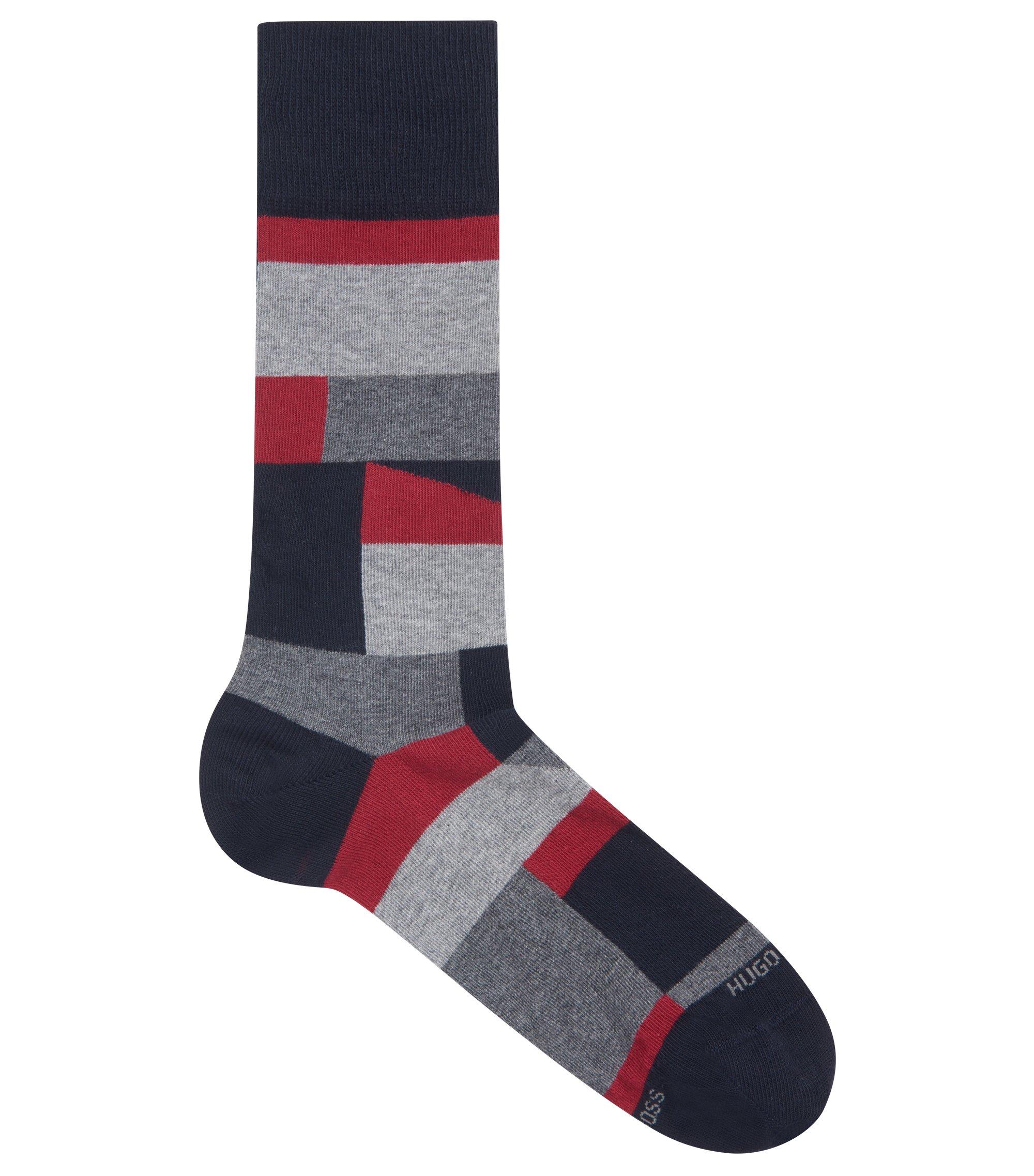 Color-block socks in a combed-cotton blend, Dark Blue