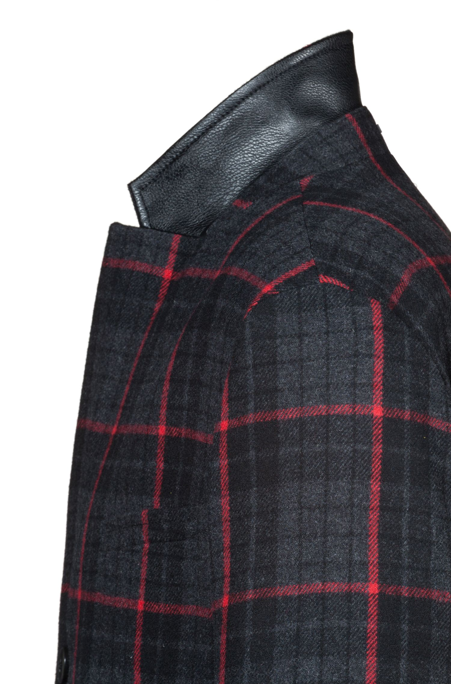 Glen check slim-fit coat in a wool blend, Charcoal