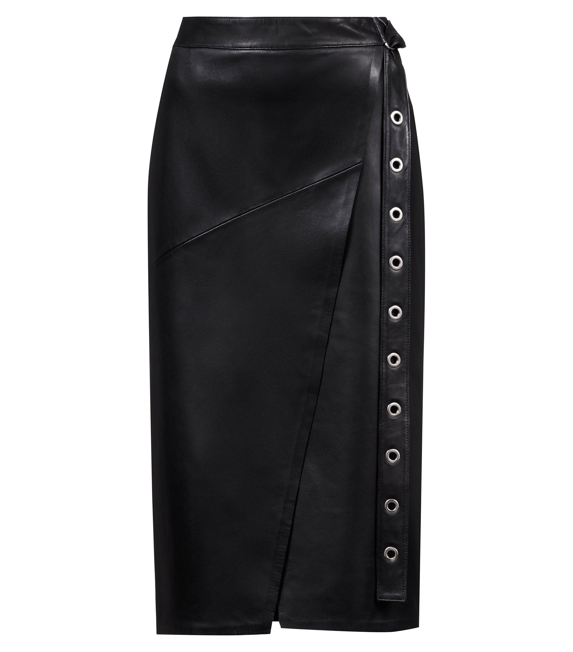 Leather pencil skirt with eyelet belt, Black