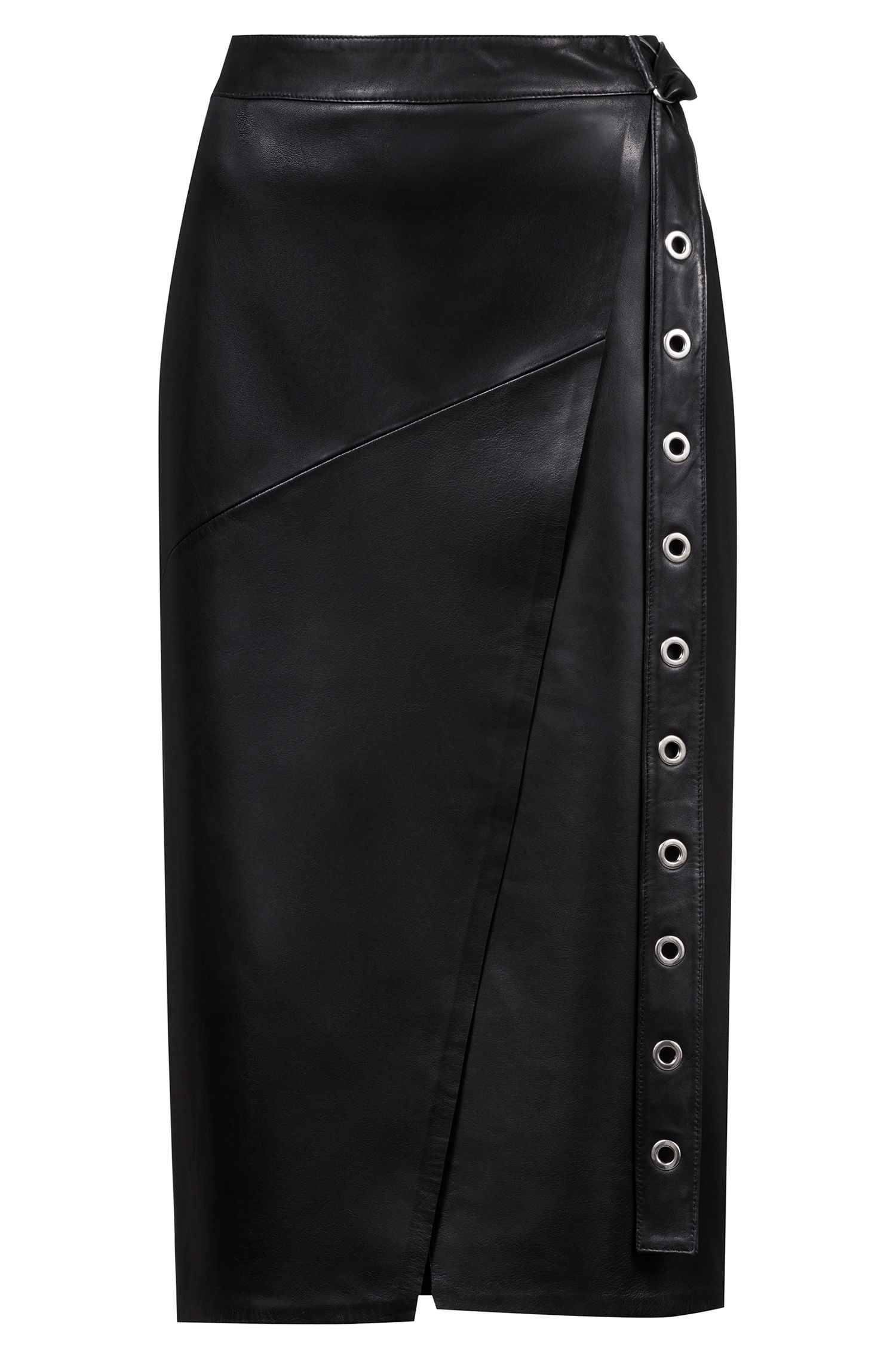Leather pencil skirt with eyelet belt, Black