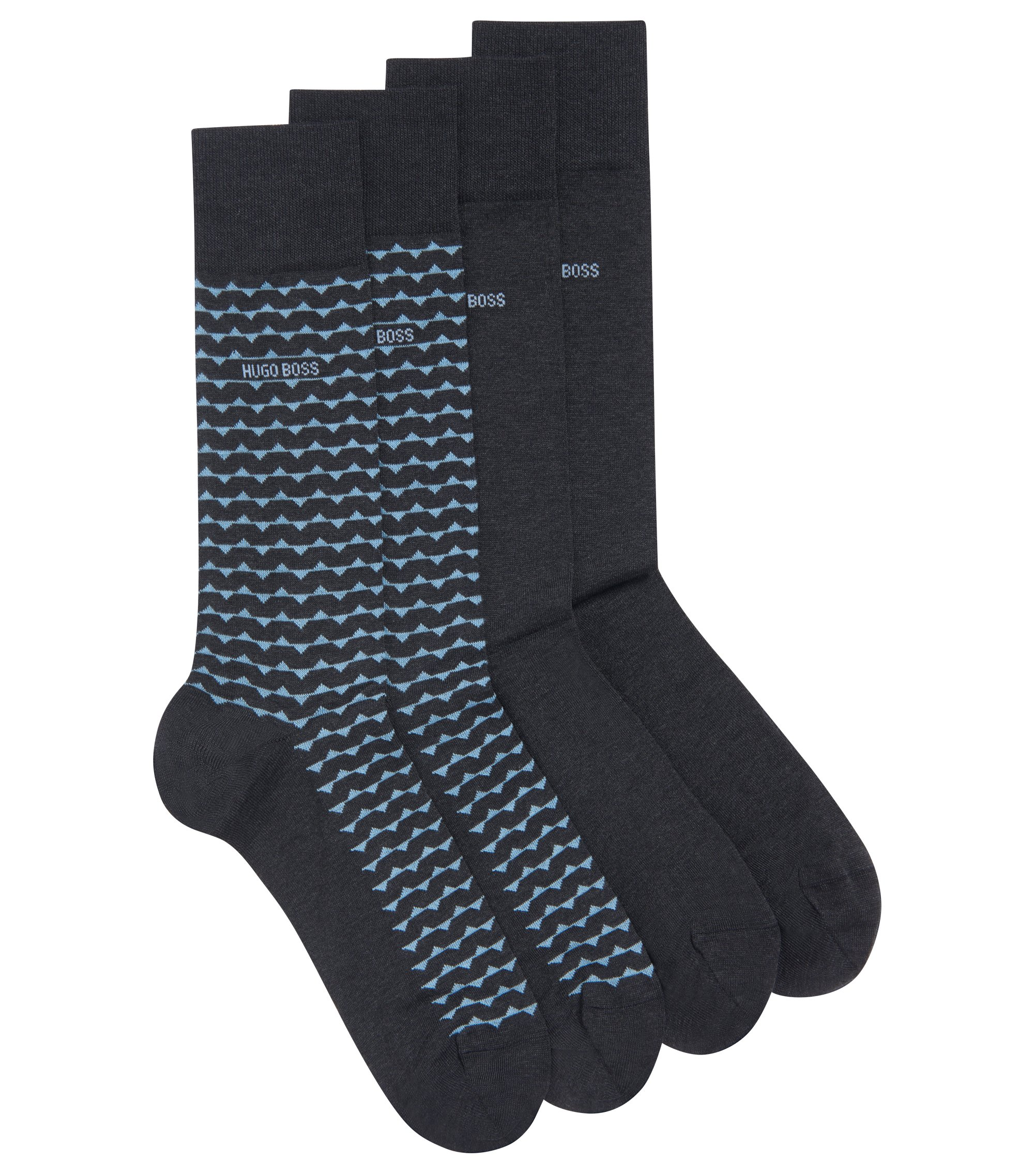 Two-pack of socks in a mercerized-cotton blend, Charcoal