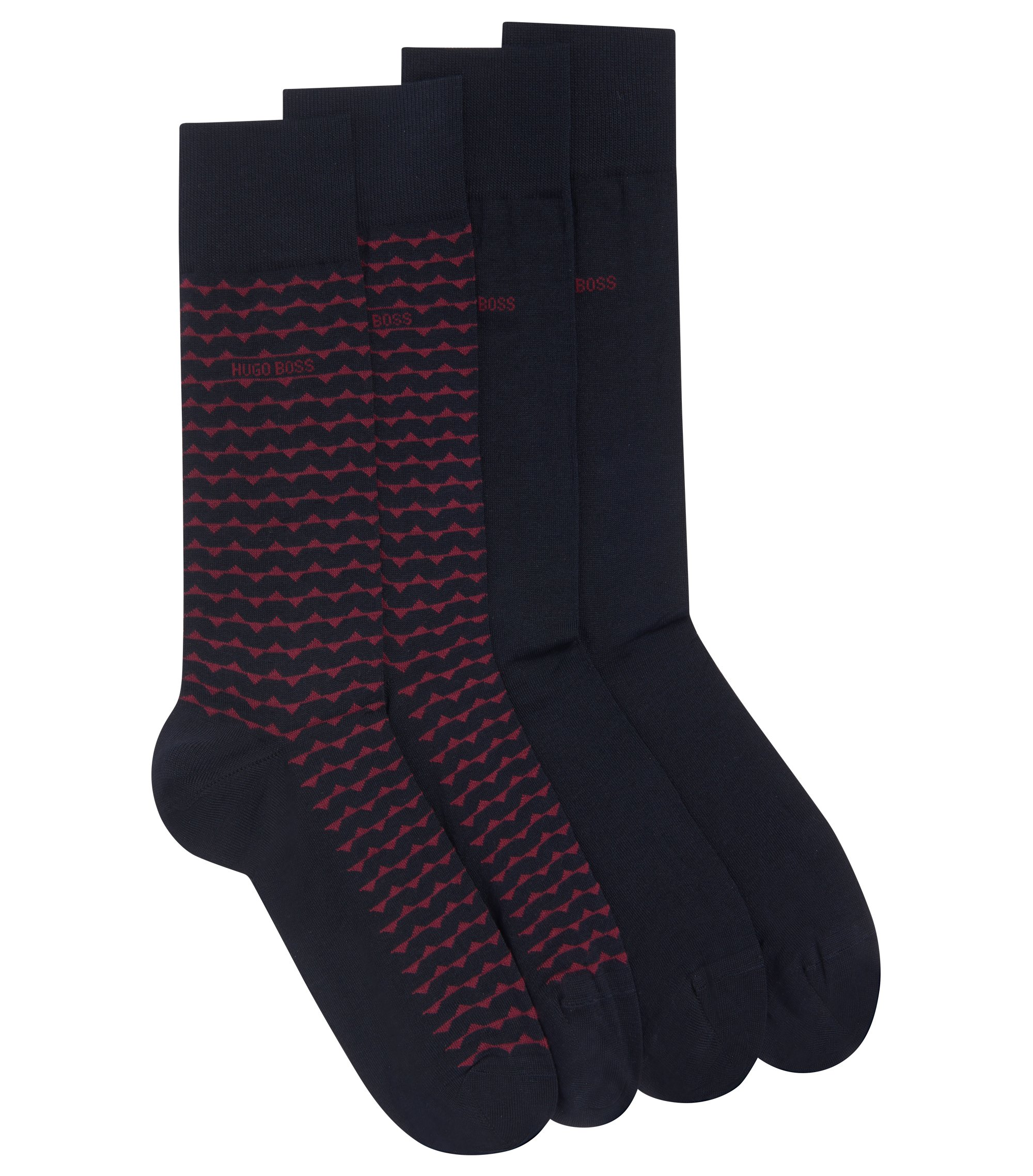 Two-pack of socks in a mercerized-cotton blend, Dark Blue