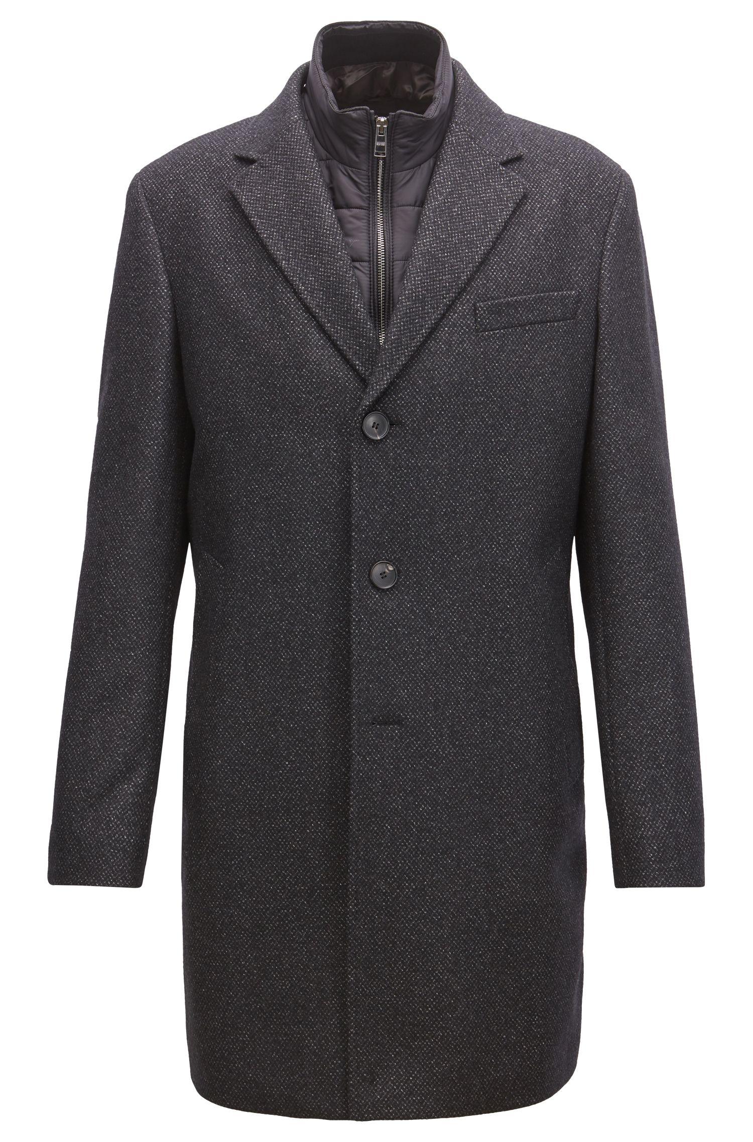 Slim-fit wool-blend coat with detachable inner bib, Dark Grey