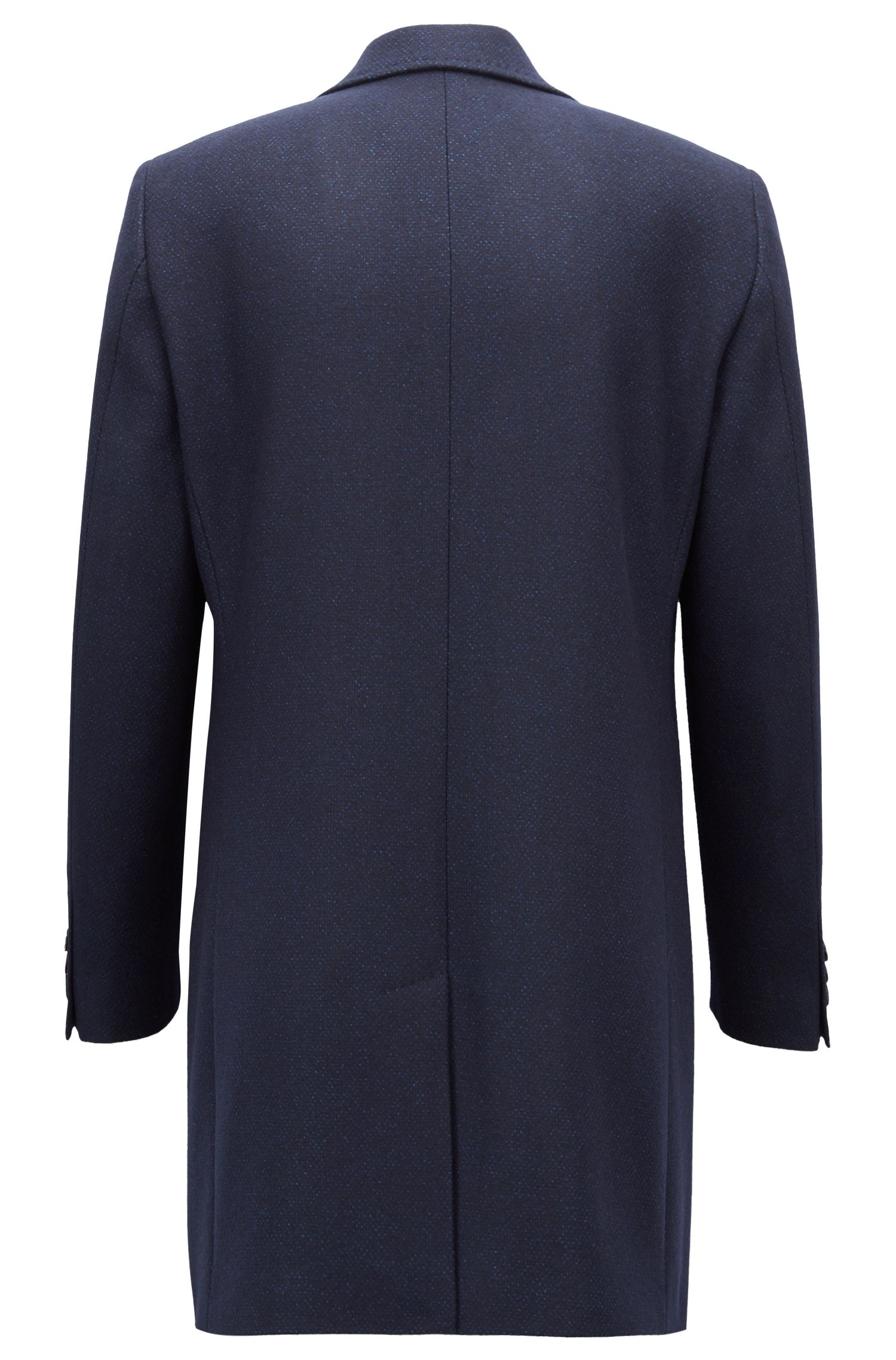 Single-breasted coat in a patterned wool blend, Open Blue